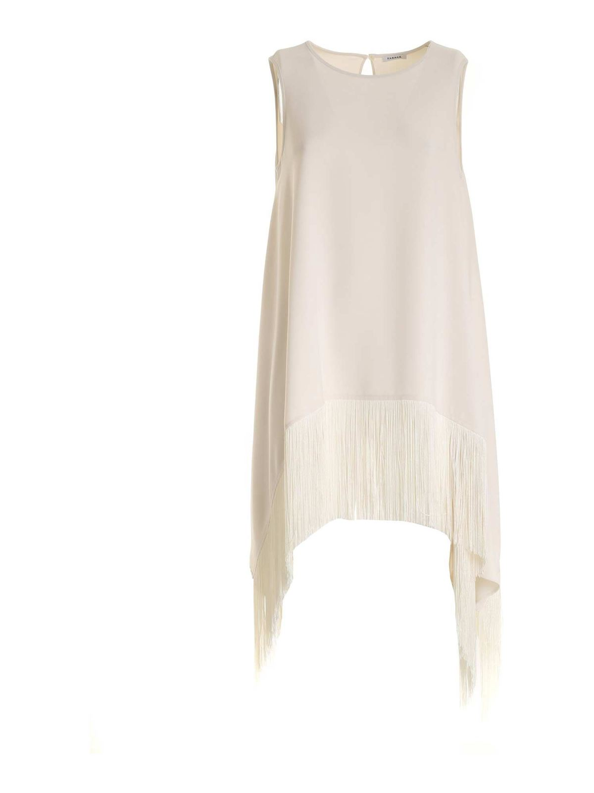 P.a.r.o.s.h. FRINGES CADY DRESS IN IVORY COLOR