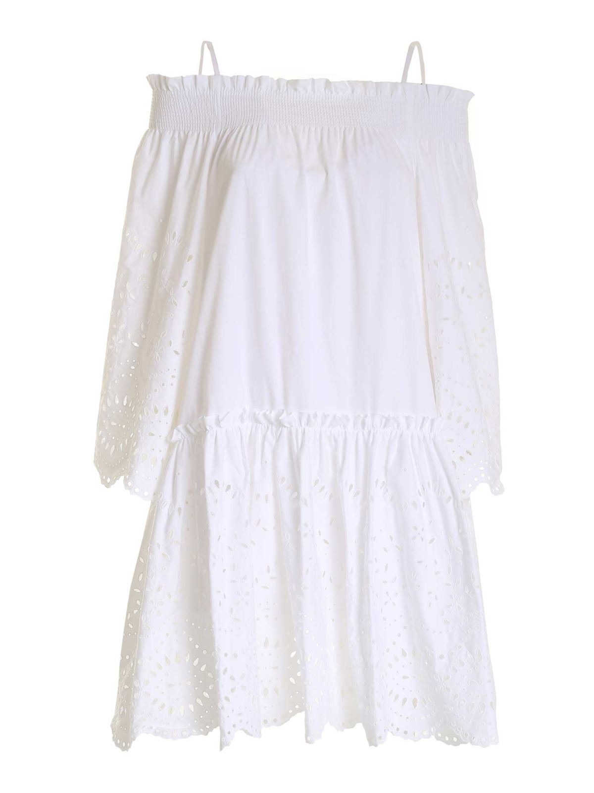 P.A.R.O.S.H. OFF-SHOULDER BRODERIE ANGLAISE DRESS