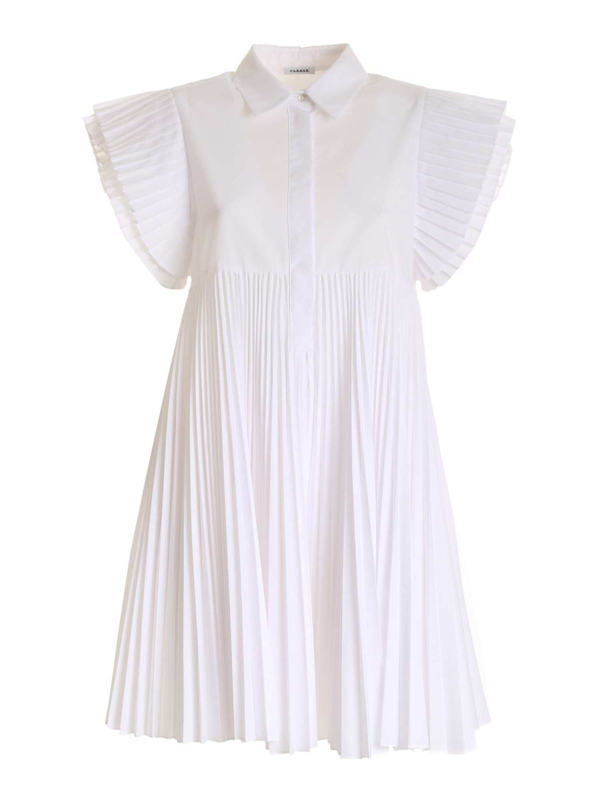 P.A.R.O.S.H. PLEATED DETAIL DRESS IN WHITE