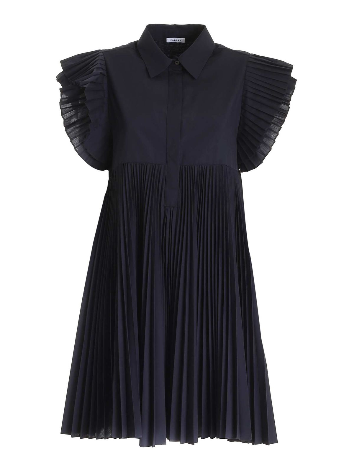 P.a.r.o.s.h. PLEATED DETAILS DRESS IN BLUE