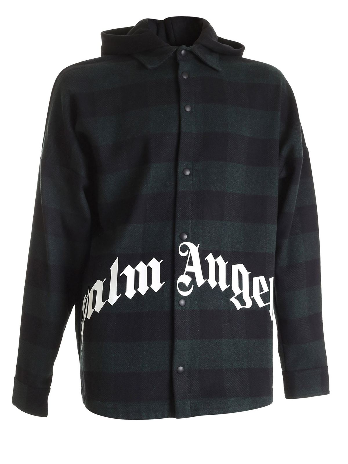 PALM ANGELS GREEN FOREST GREEN JACKET FEATURING HOOD