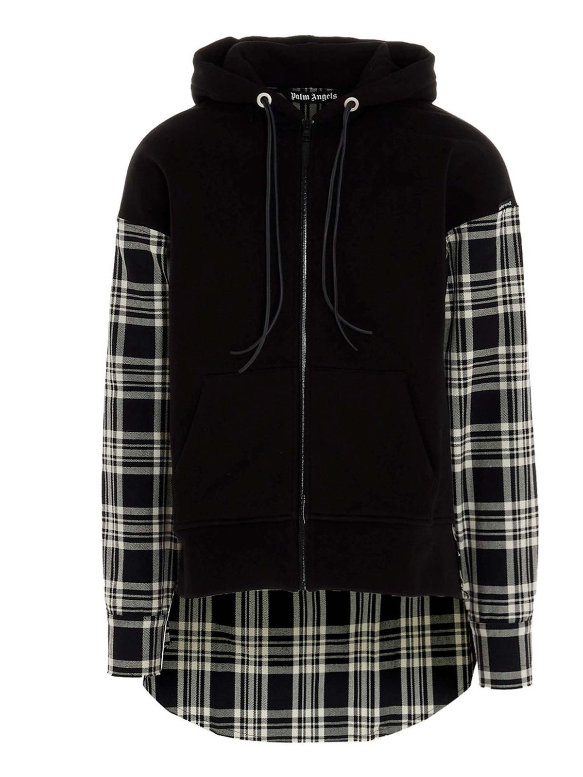 PALM ANGELS LOGO CHECK SWEATSHIRT IN BLACK AND WHITE