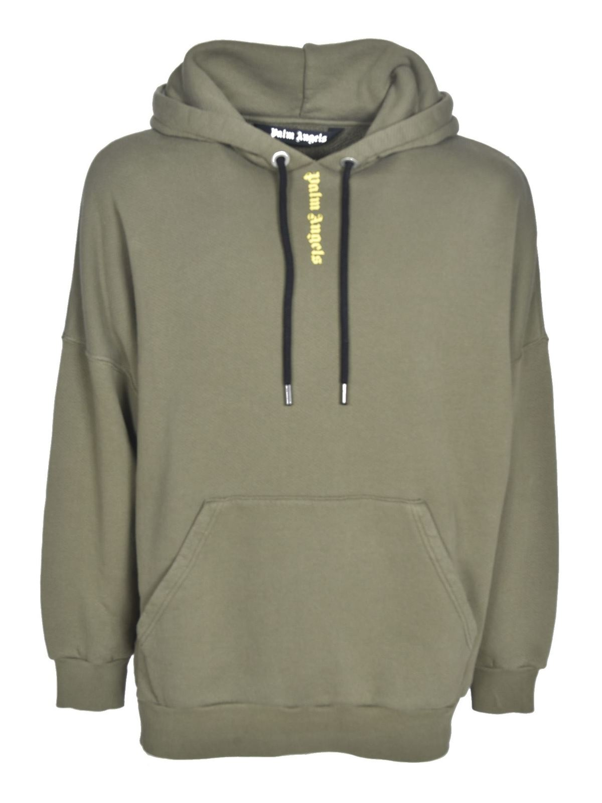 Palm Angels REAR LOGO SWEATSHIRT IN ARMY GREEN