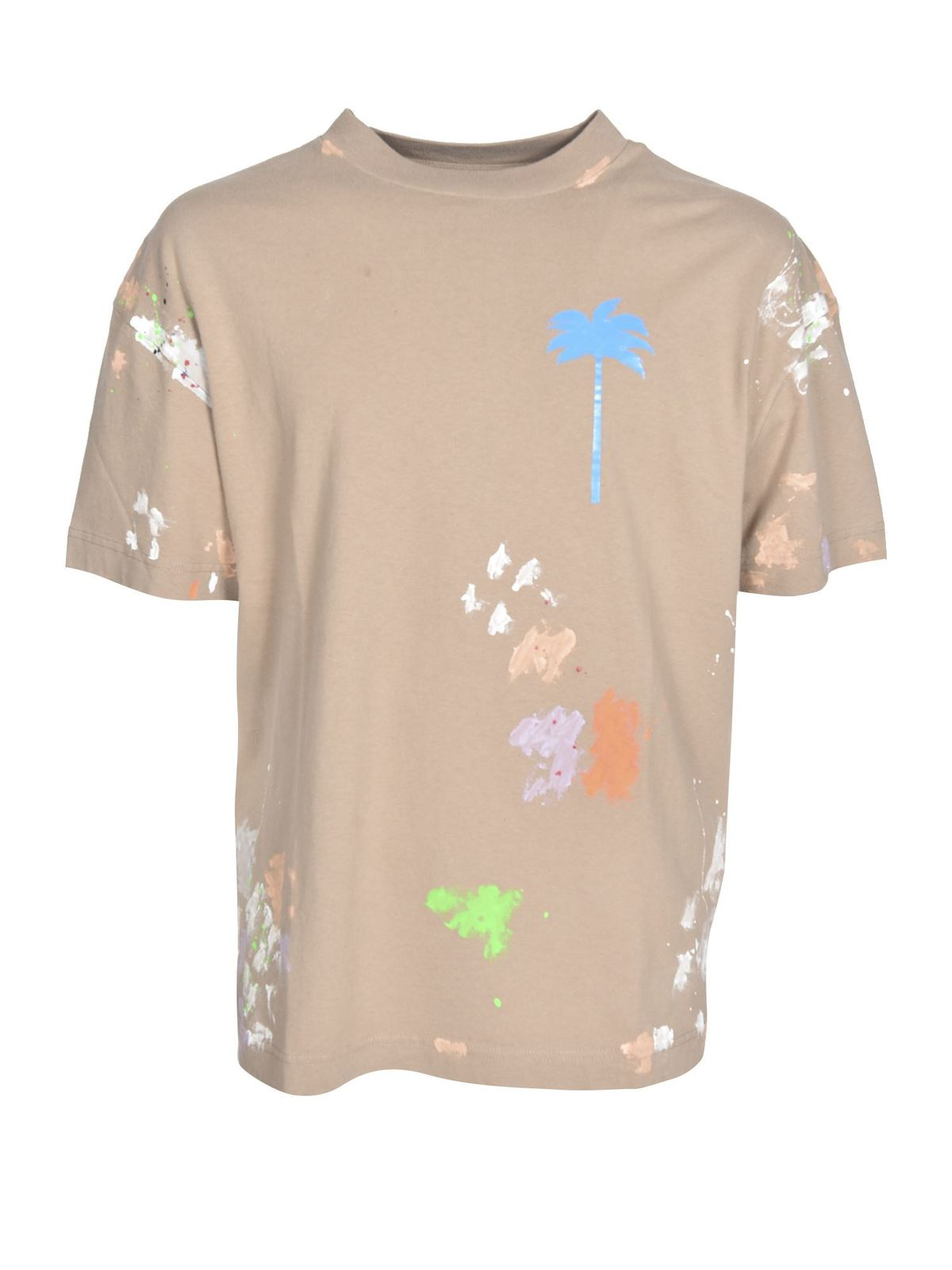 Palm Angels SPOTS OF COLOR T-SHIRT IN BEIGE