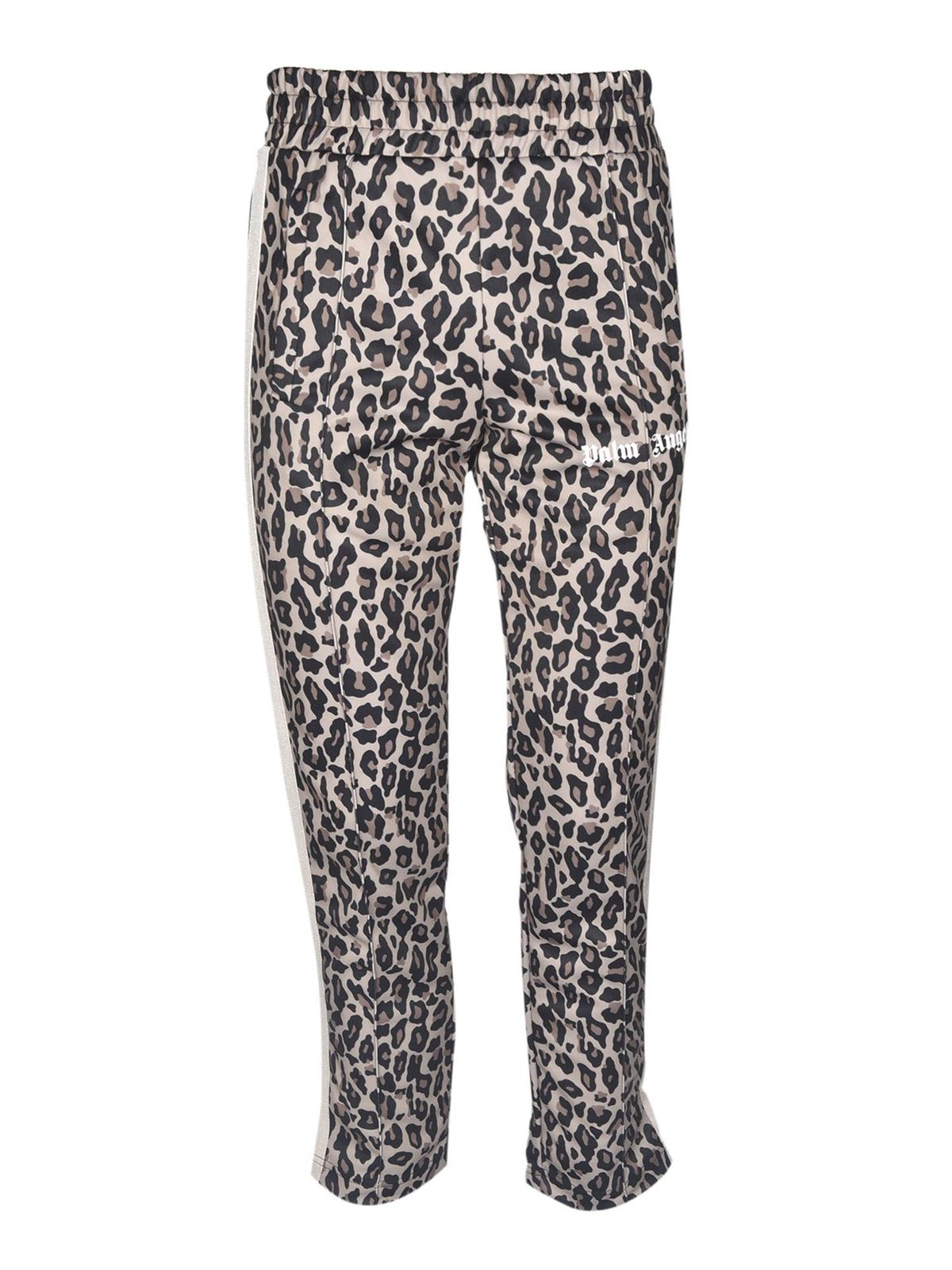 Palm Angels Linings LEOPARD TRACK PANTS IN YELLOW WHITE