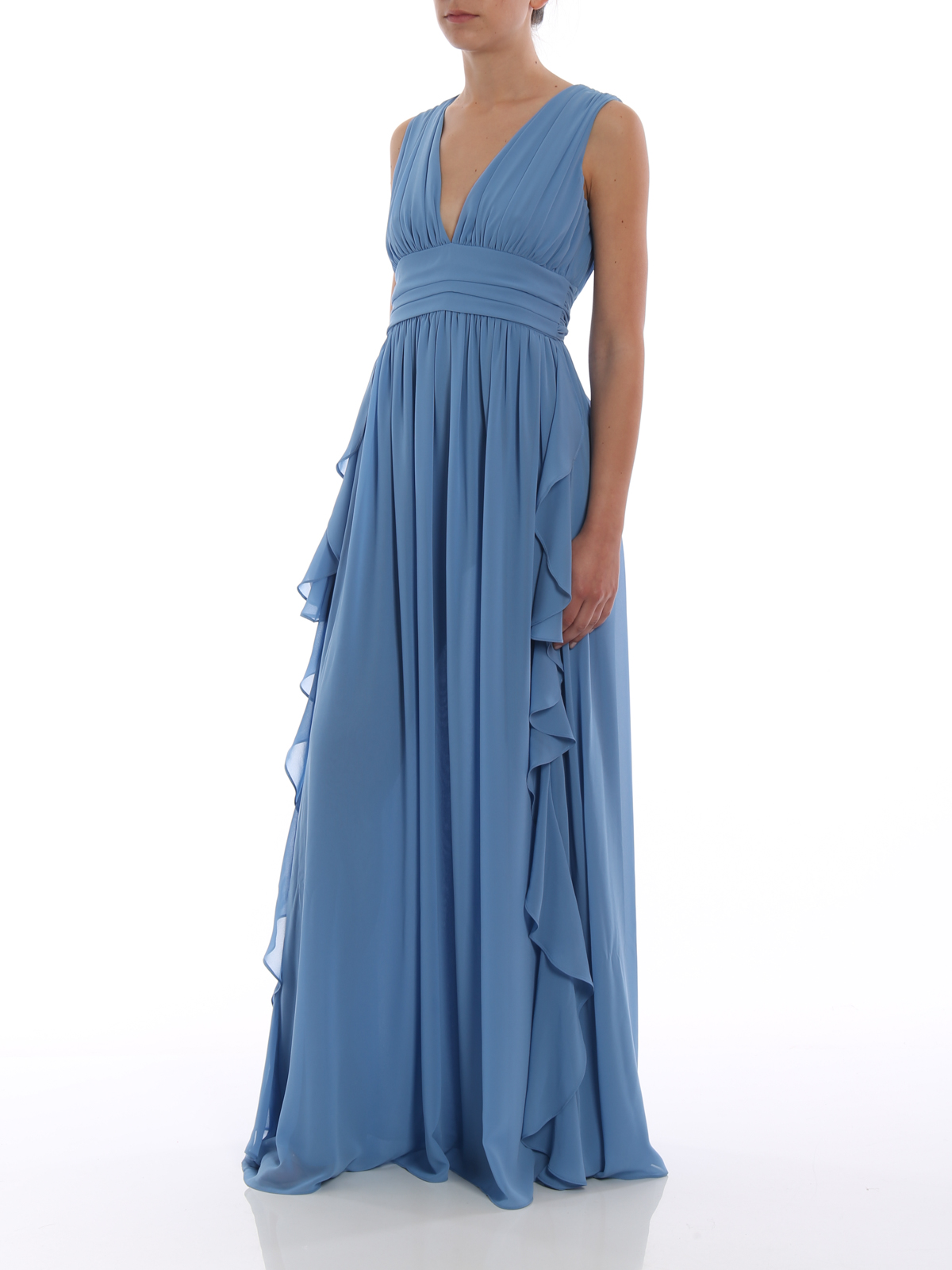 Light blue frilled empire dress by Paolo Fiorillo Capri cocktail