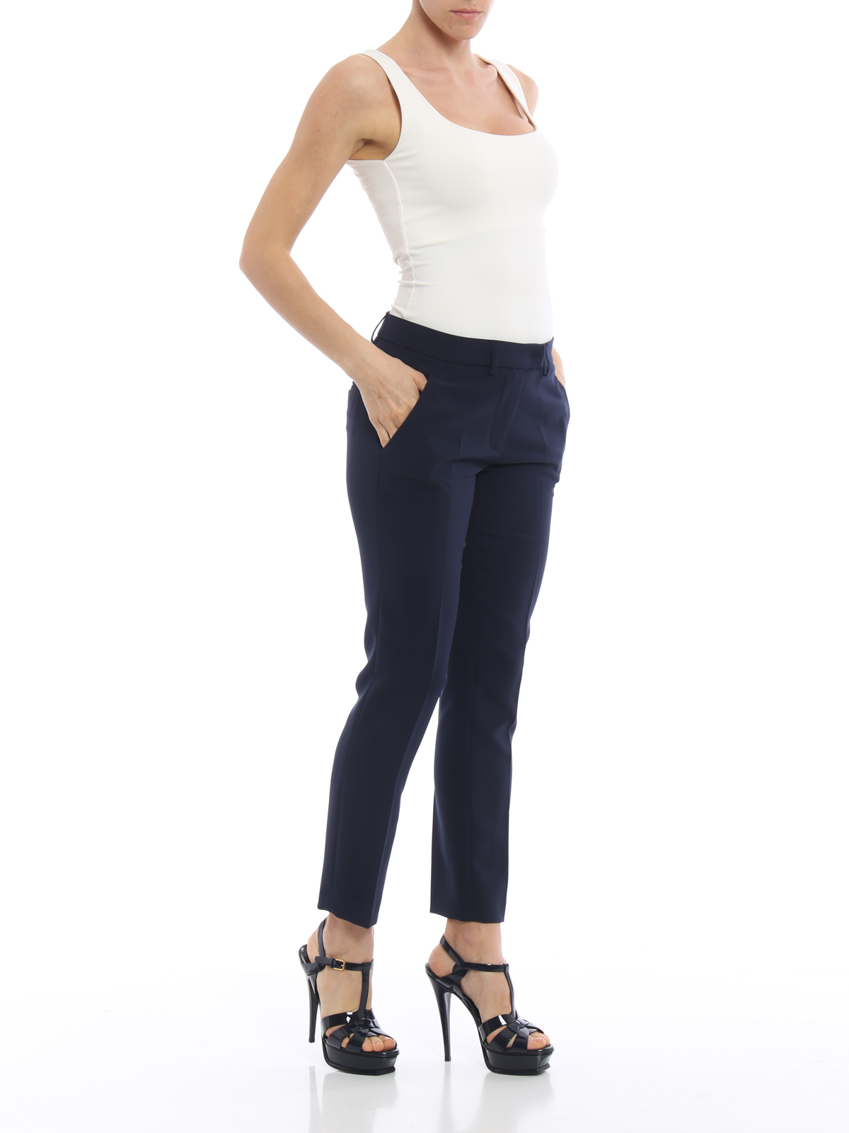 74c37f0328 Paolo Fiorillo  Pantalones de sastrerìa online - Pantalón De Vestir Azul  Oscuro