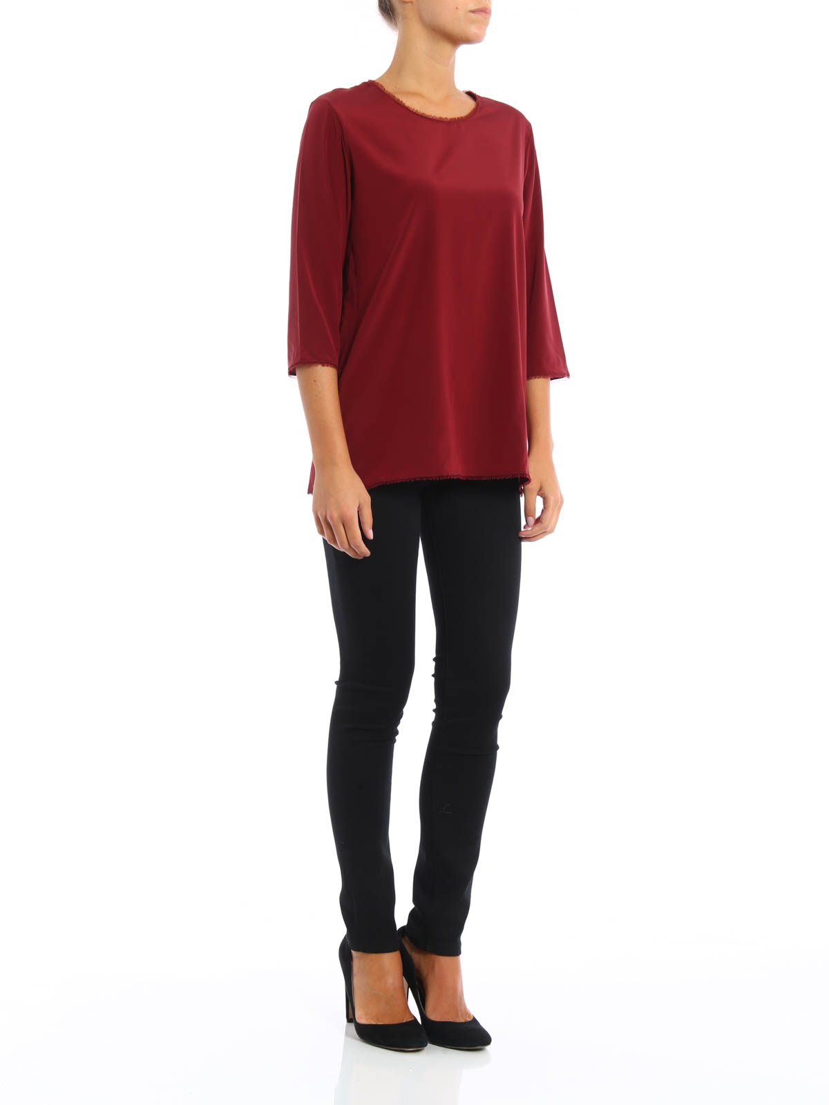 5fb1aac75b04f7 Paolo Fiorillo: Tops & Tank tops online - Impalpable silk long sleeves top