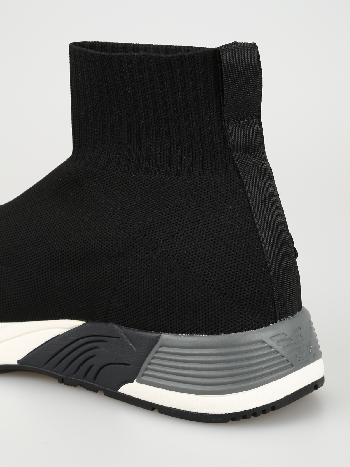 Patch detail sock style knit slip-ons