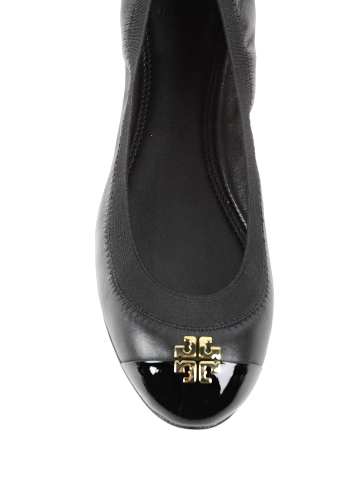 62f80590a2e Tory Burch - Patent leather toe Jolie ballerinas - flat shoes ...