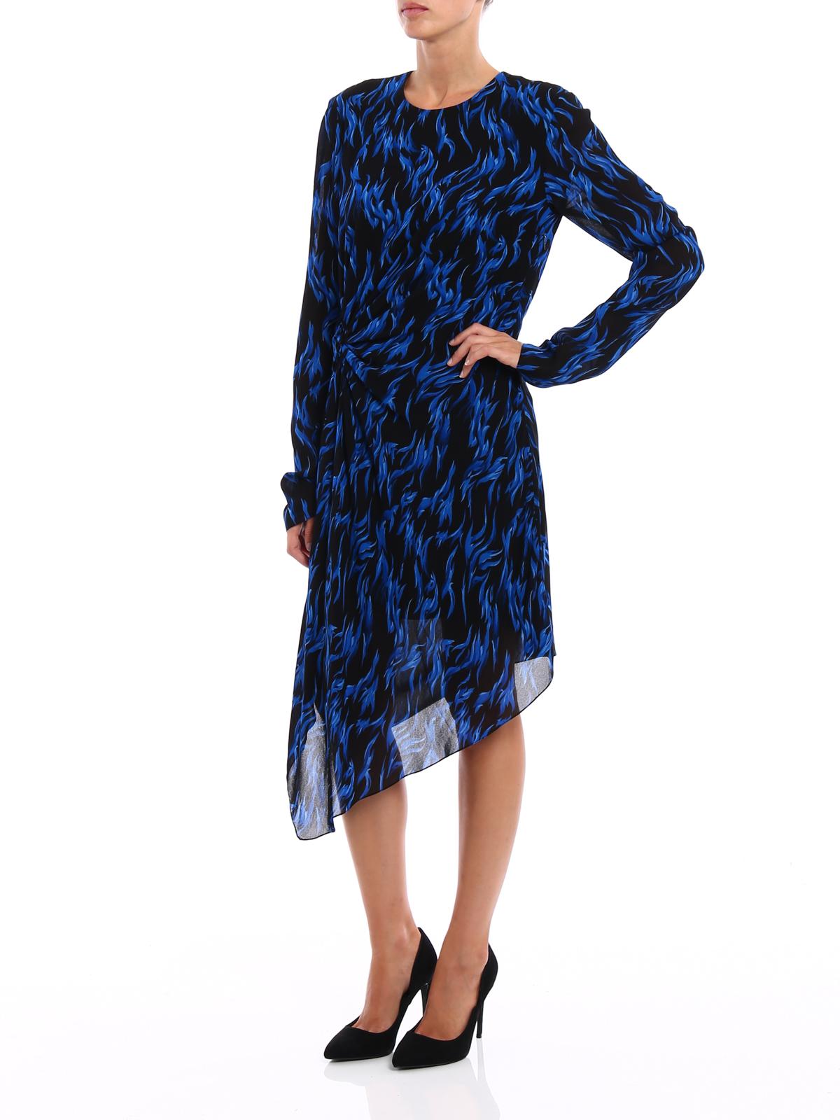 28f977a8388 Saint Laurent - Patterned crepe asymmetric dress - knee length ...