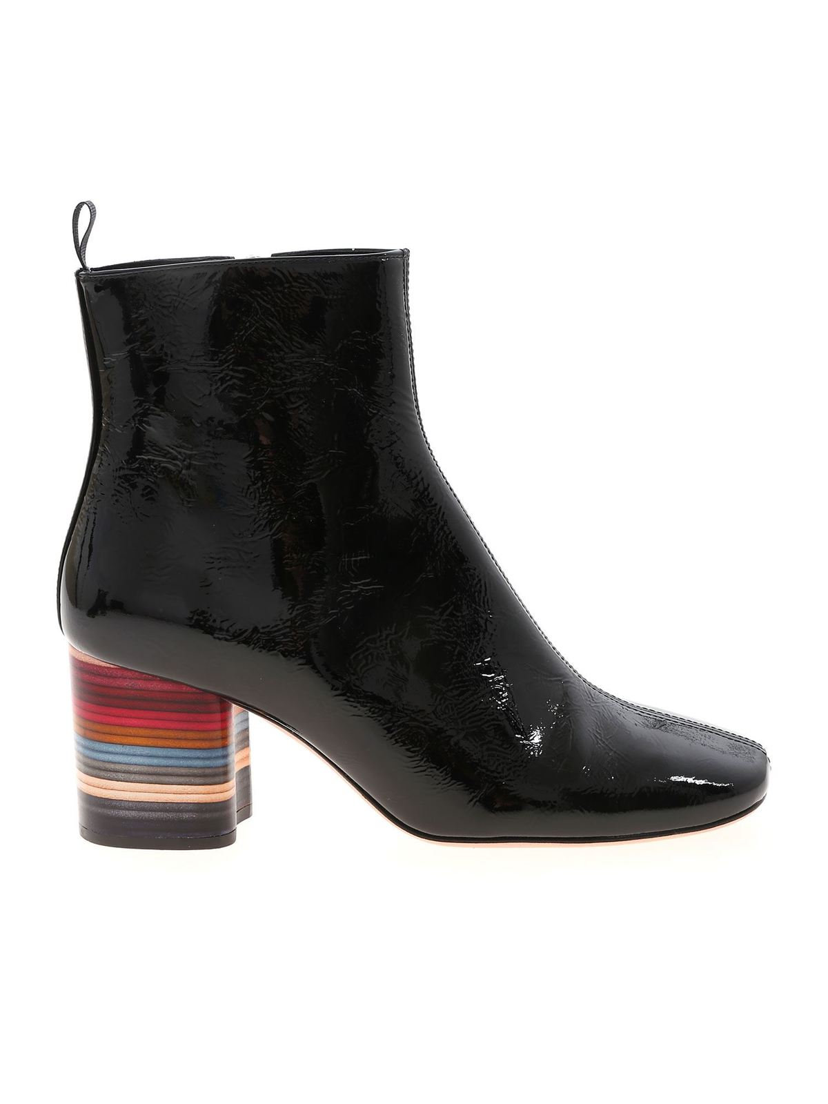 Paul Smith MOSS BLACK SWIRL HEEL ANKLE BOOTS IN BLACK