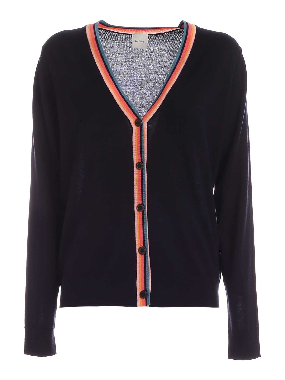 Paul Smith MULTICOLOR DETAILS CARDIGAN IN DARK BLUE