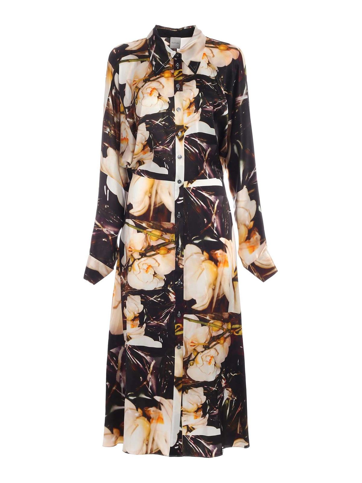 Paul Smith MULTICOLOR ORCHID PRINT LONG DRESS