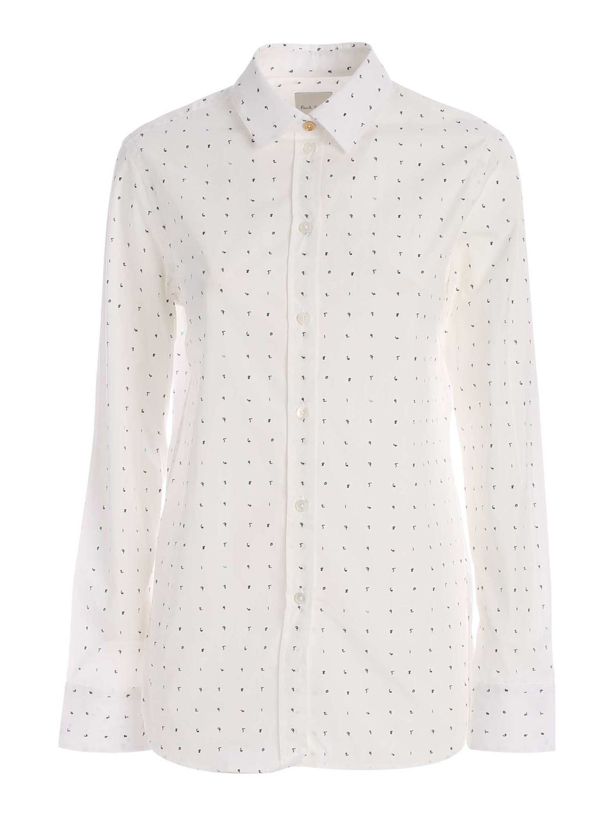 Paul Smith ALL-OVER NUMBER PRINT SHIRT IN WHITE