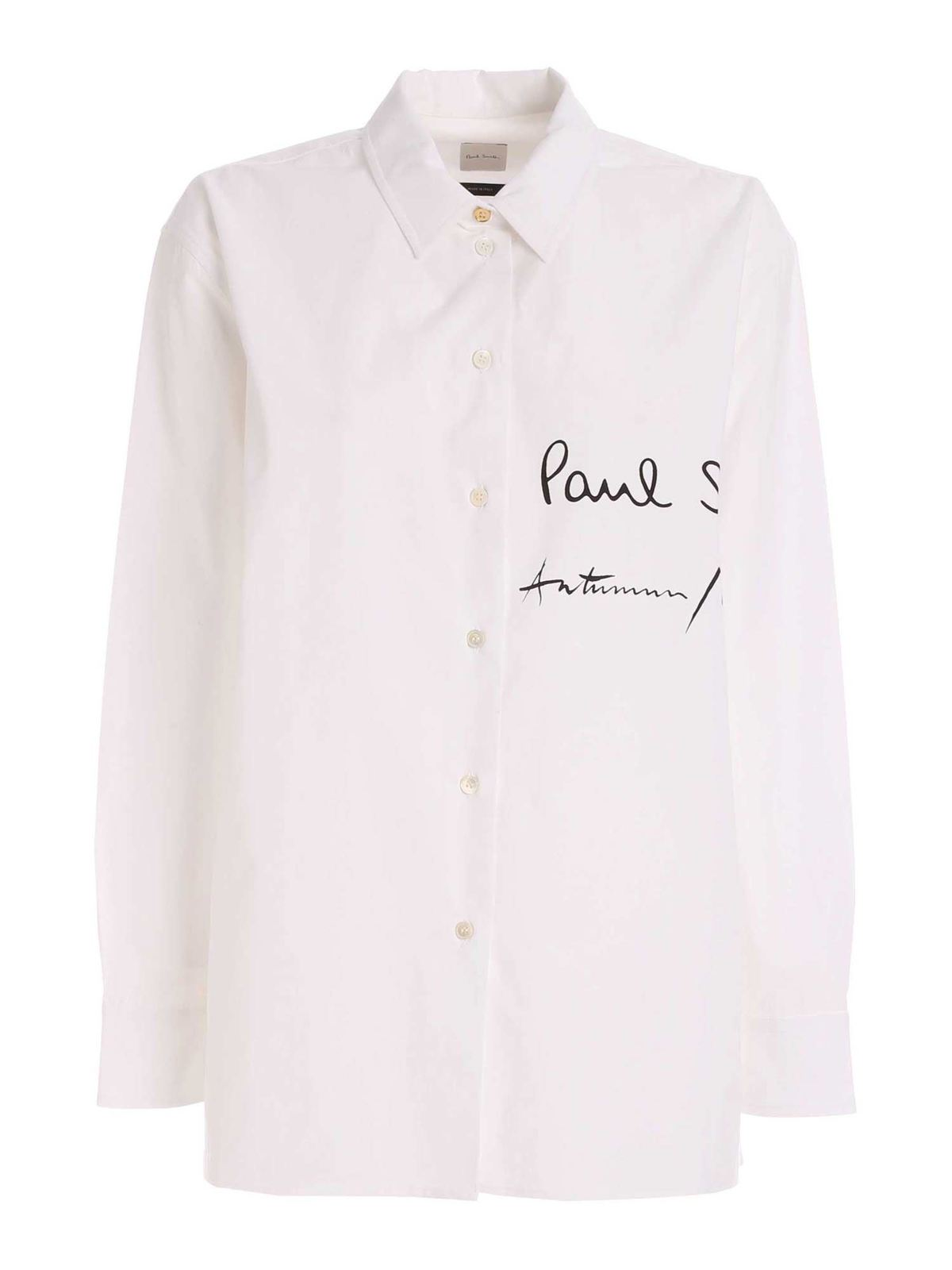 Paul Smith SIGNATURE BLACK LOGO SHIRT IN WHITE