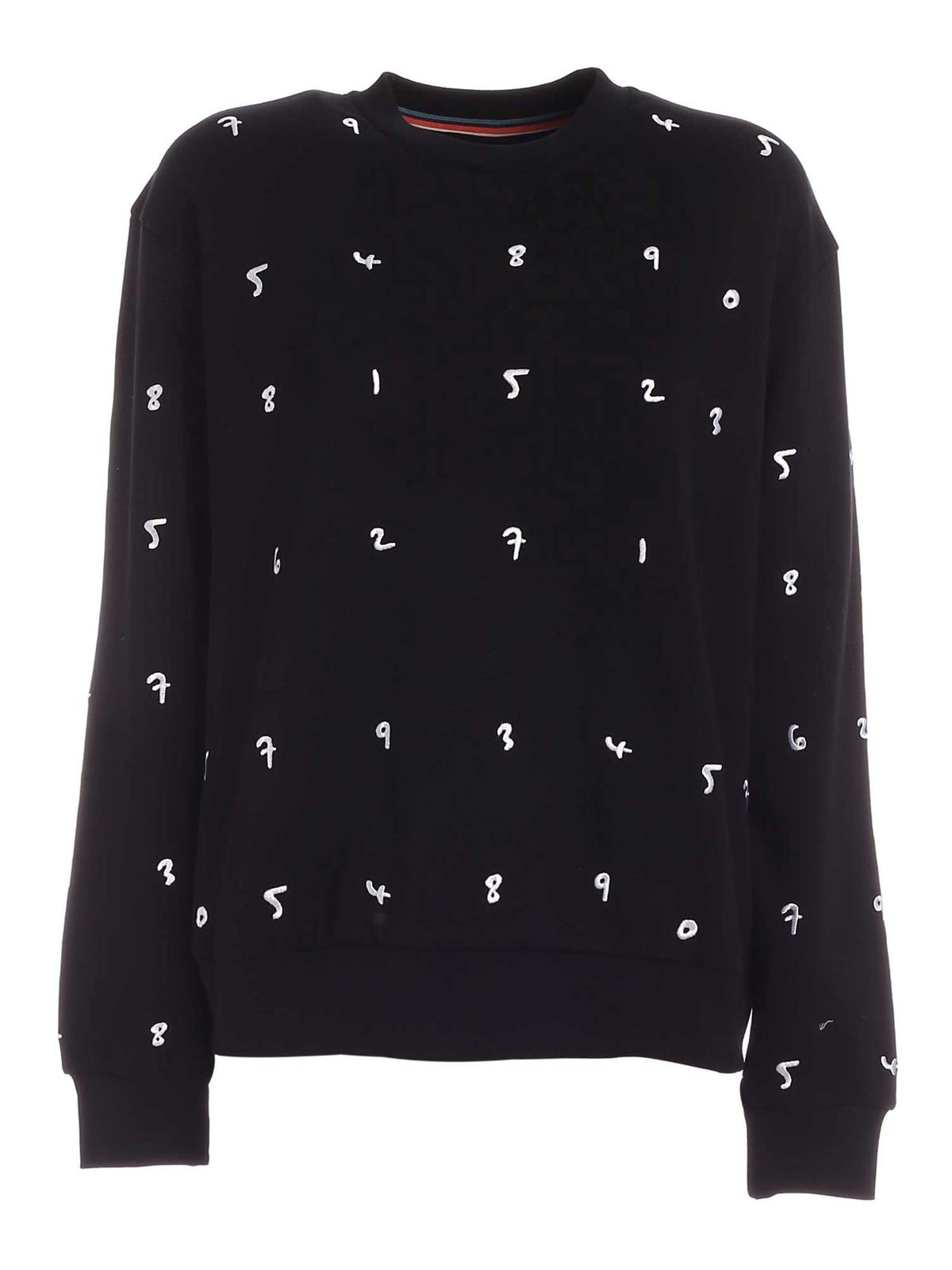 Paul Smith ALL-OVER WHITE EMBROIDERY SWEATSHIRT IN BLACK