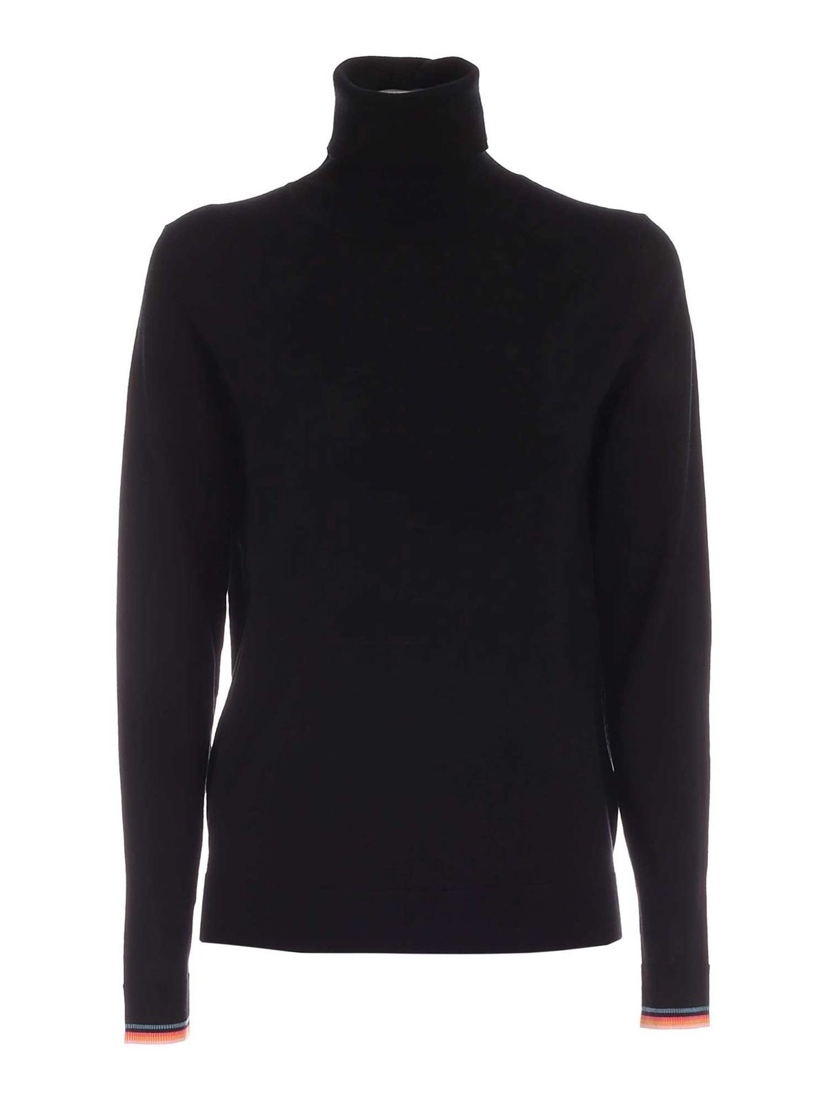 Paul Smith SWIRL DETAIL TURTLENECK IN BLACK