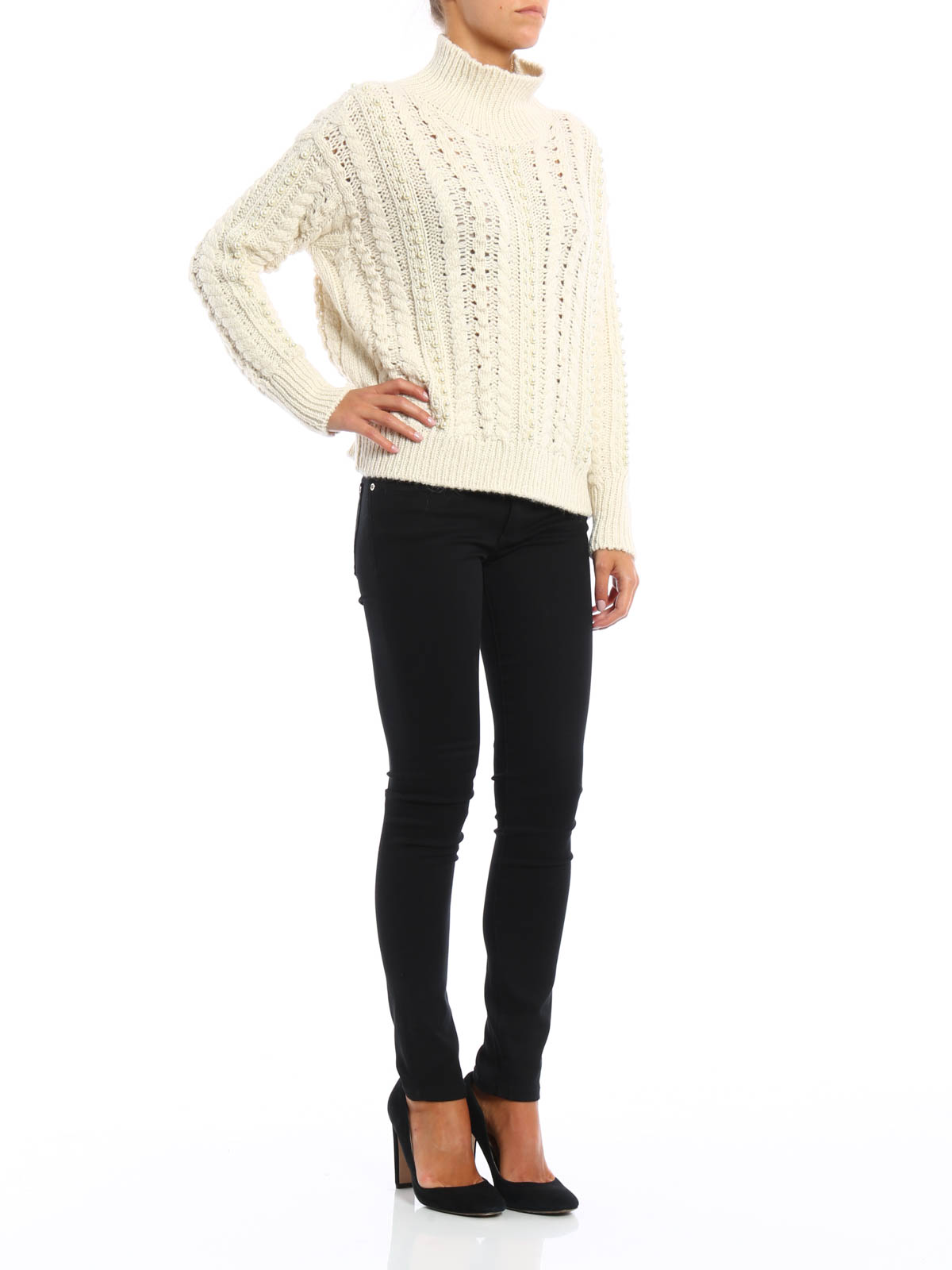 d8a074f18a3 Ermanno Scervino - Pearls detailed alpaca sweater - Turtlenecks ...