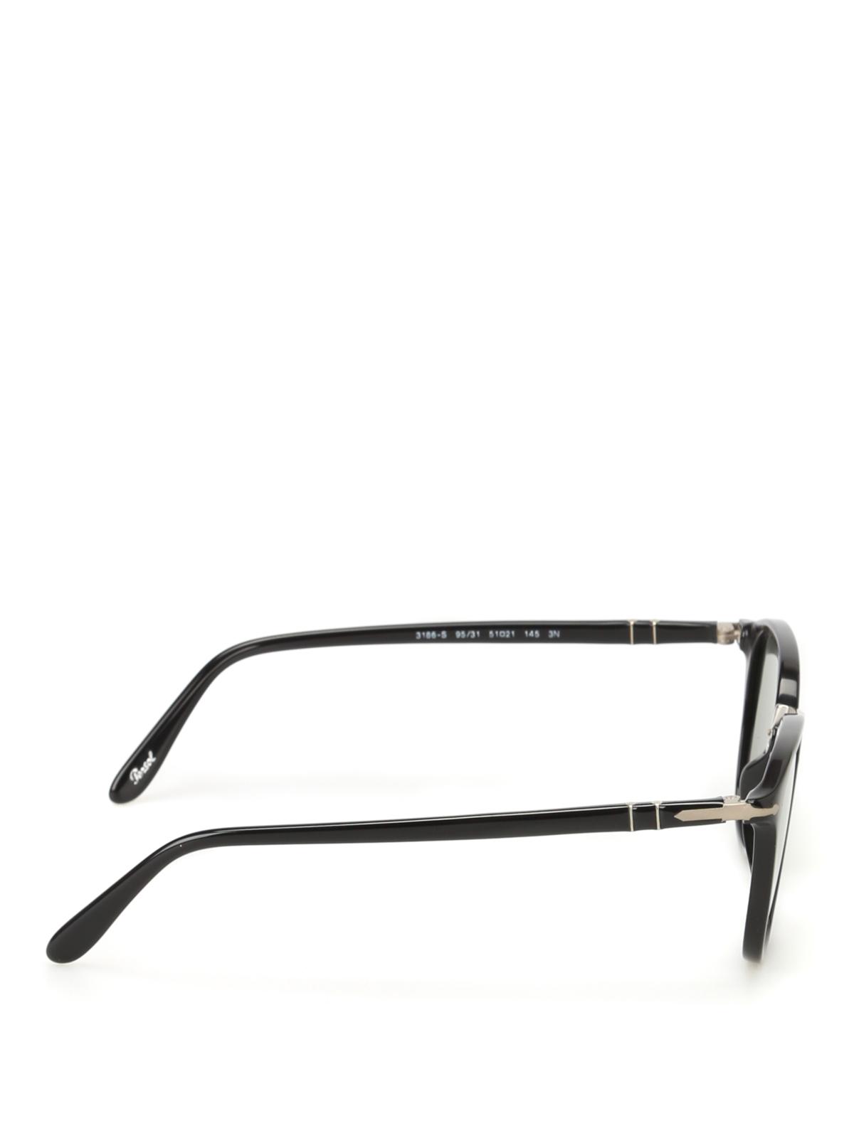 1542ac30cc7bc Persol - Black and silver squared glasses - sunglasses - 3186S9531