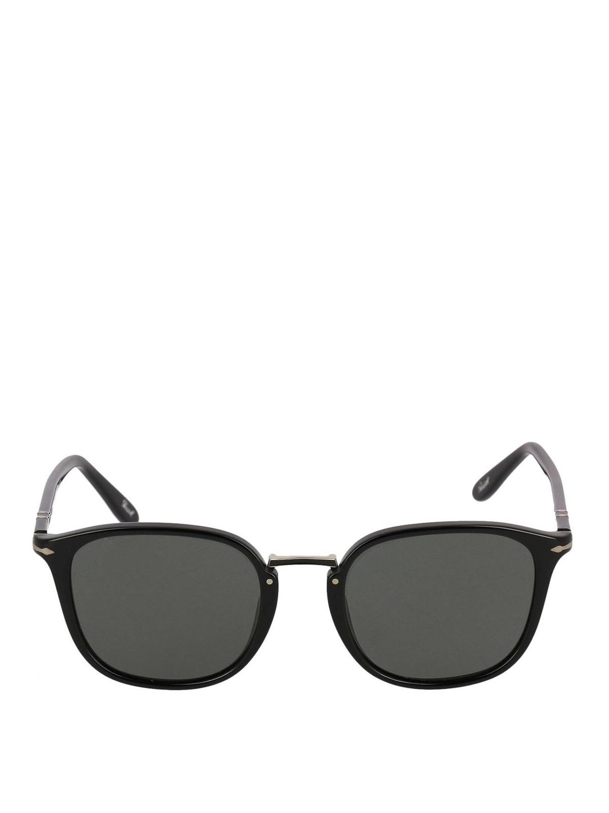 8a6a1b4d902 PERSOL  sunglasses online - Black panto sunglasses with metal bridge