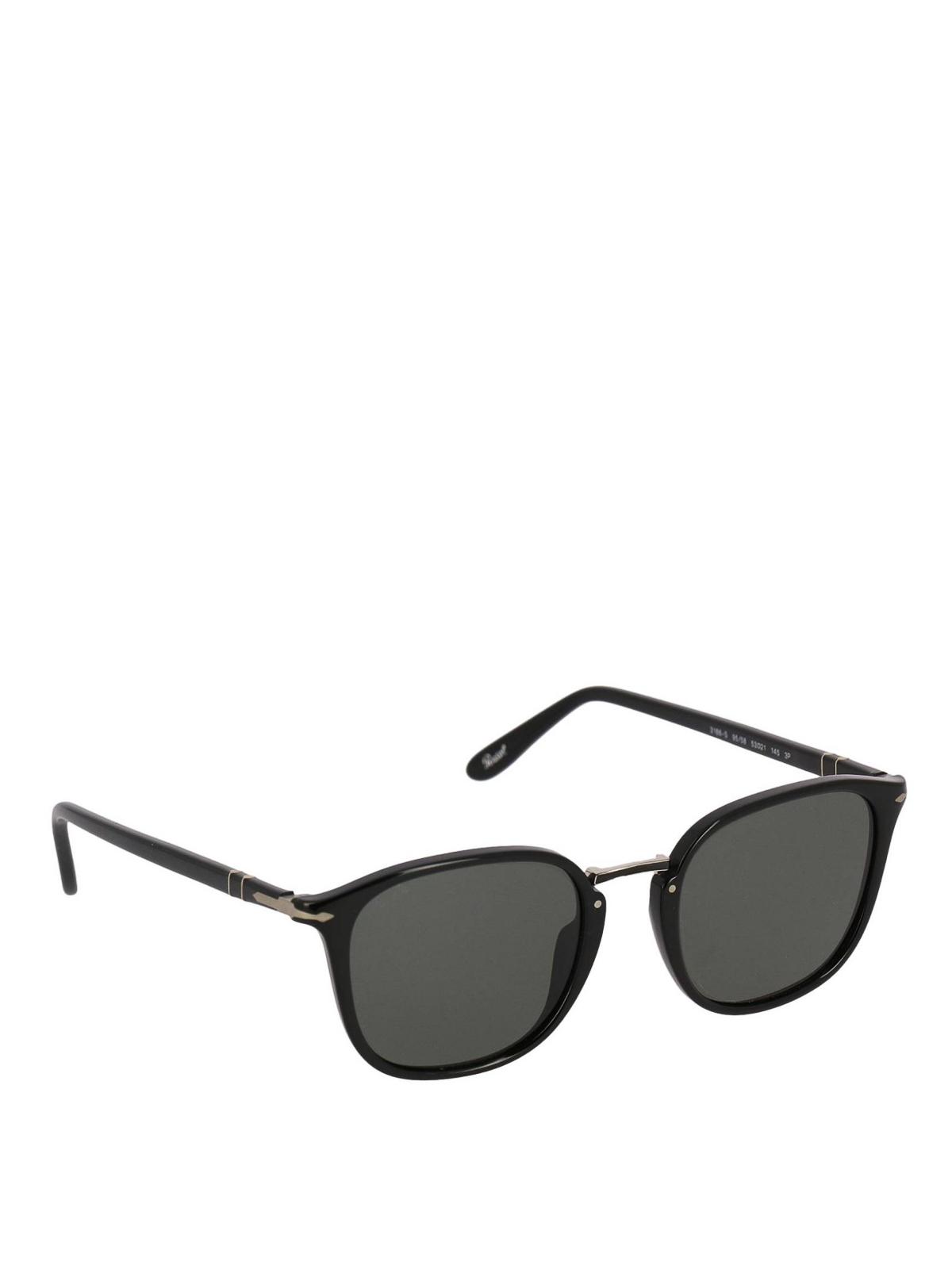 b249c7097d3 Persol - Black panto sunglasses with metal bridge - sunglasses ...