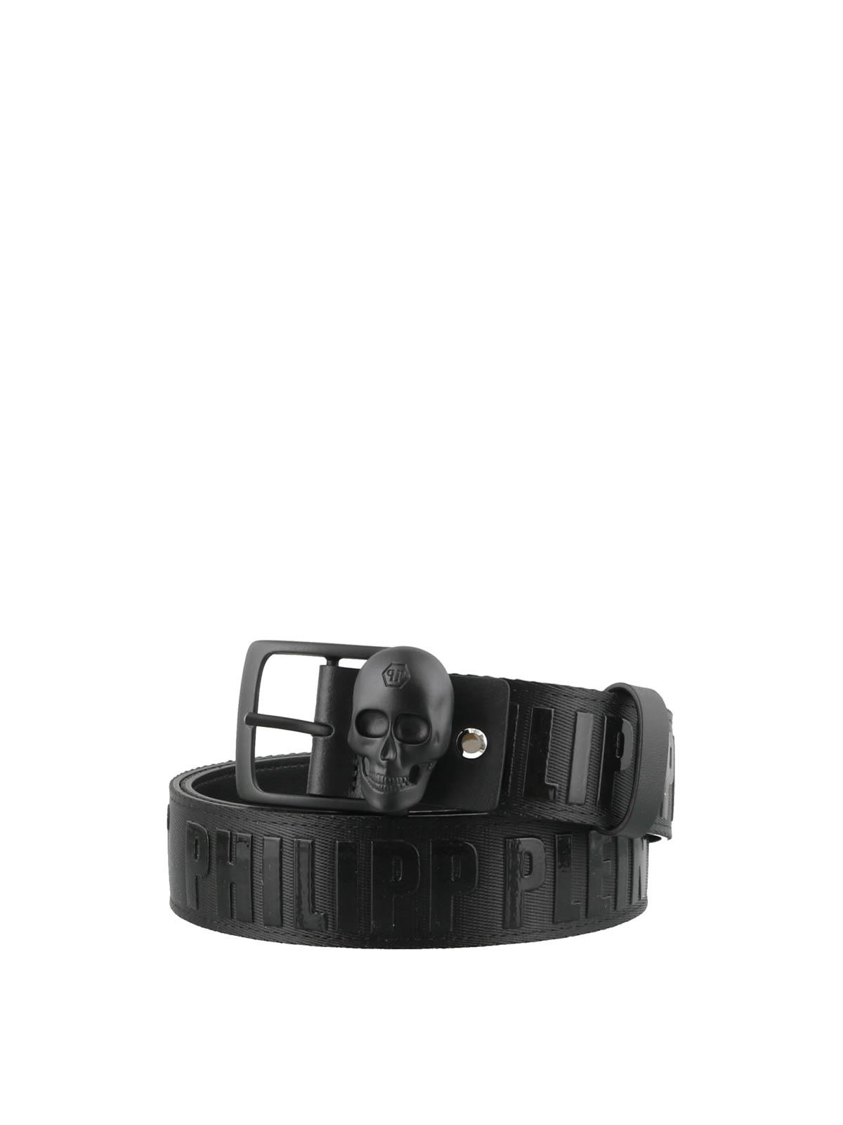 dd825b71862 Philipp Plein - Skull buckle black cotton belt - belts ...