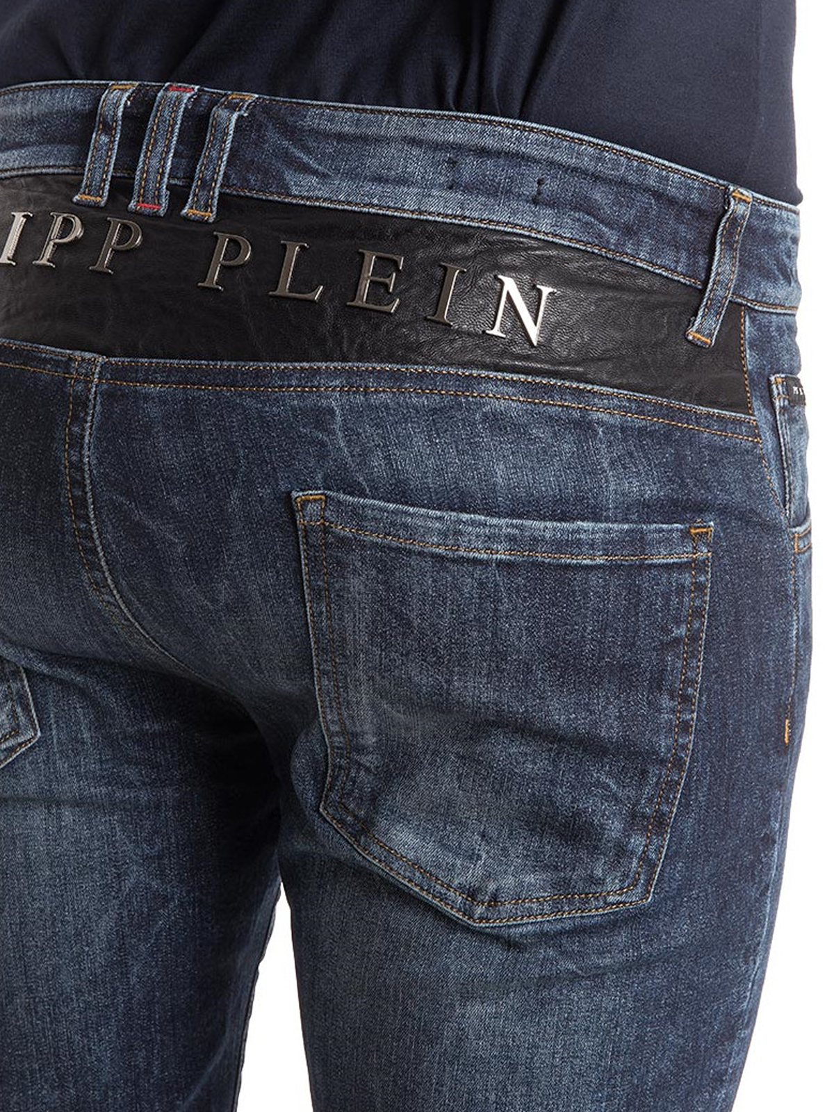jeans yusuke con logo lettering philipp plein jeans dritti a sigaretta ikrix. Black Bedroom Furniture Sets. Home Design Ideas