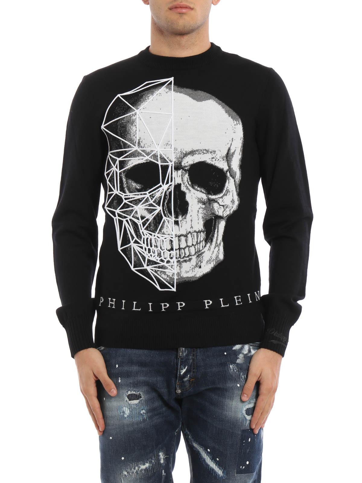 diamonds embroidered skull sweater by philipp plein crew. Black Bedroom Furniture Sets. Home Design Ideas