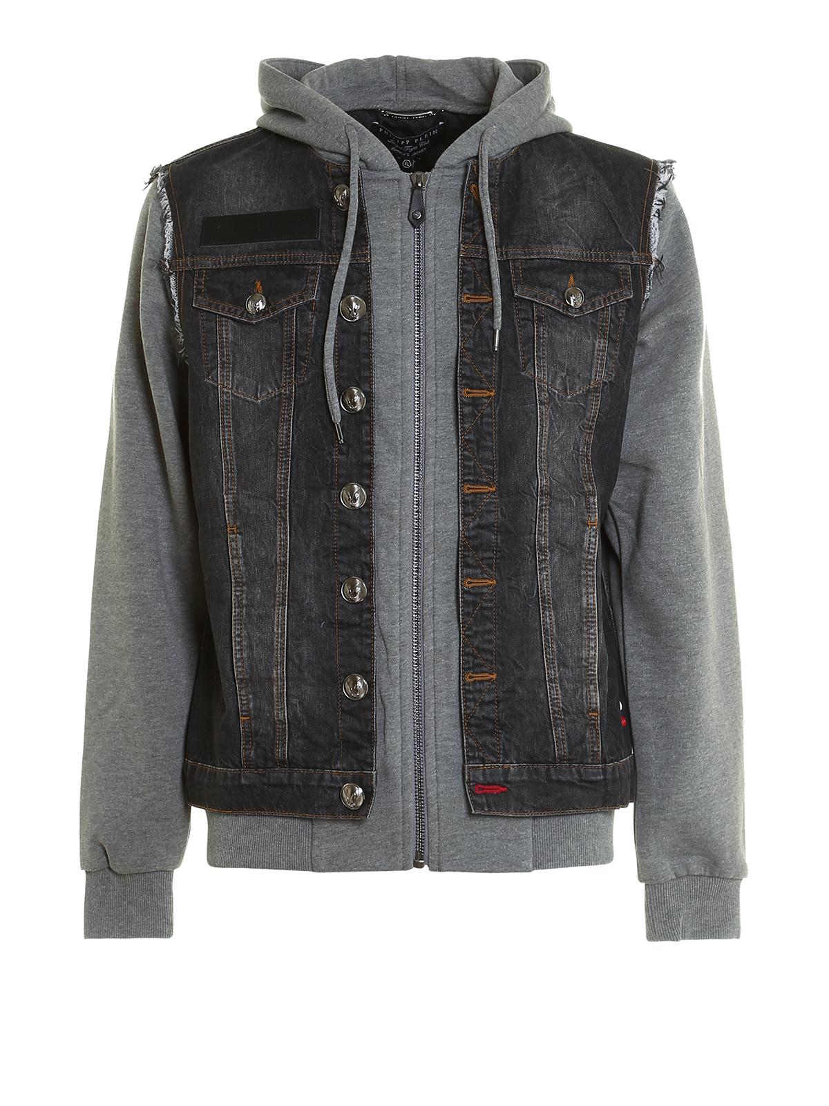 Mirrow denim and jersey jacket by Philipp Plein