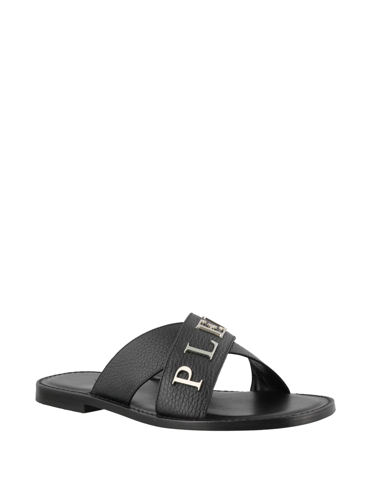 Philipp Flat Leather Sandals Logo Plein Metallic Black doeWrxBQC