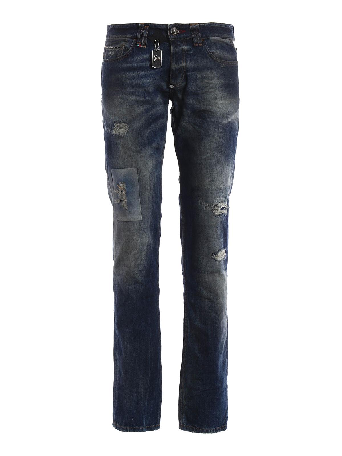 jeans deep philipp plein jeans dritti a sigaretta ikrix. Black Bedroom Furniture Sets. Home Design Ideas