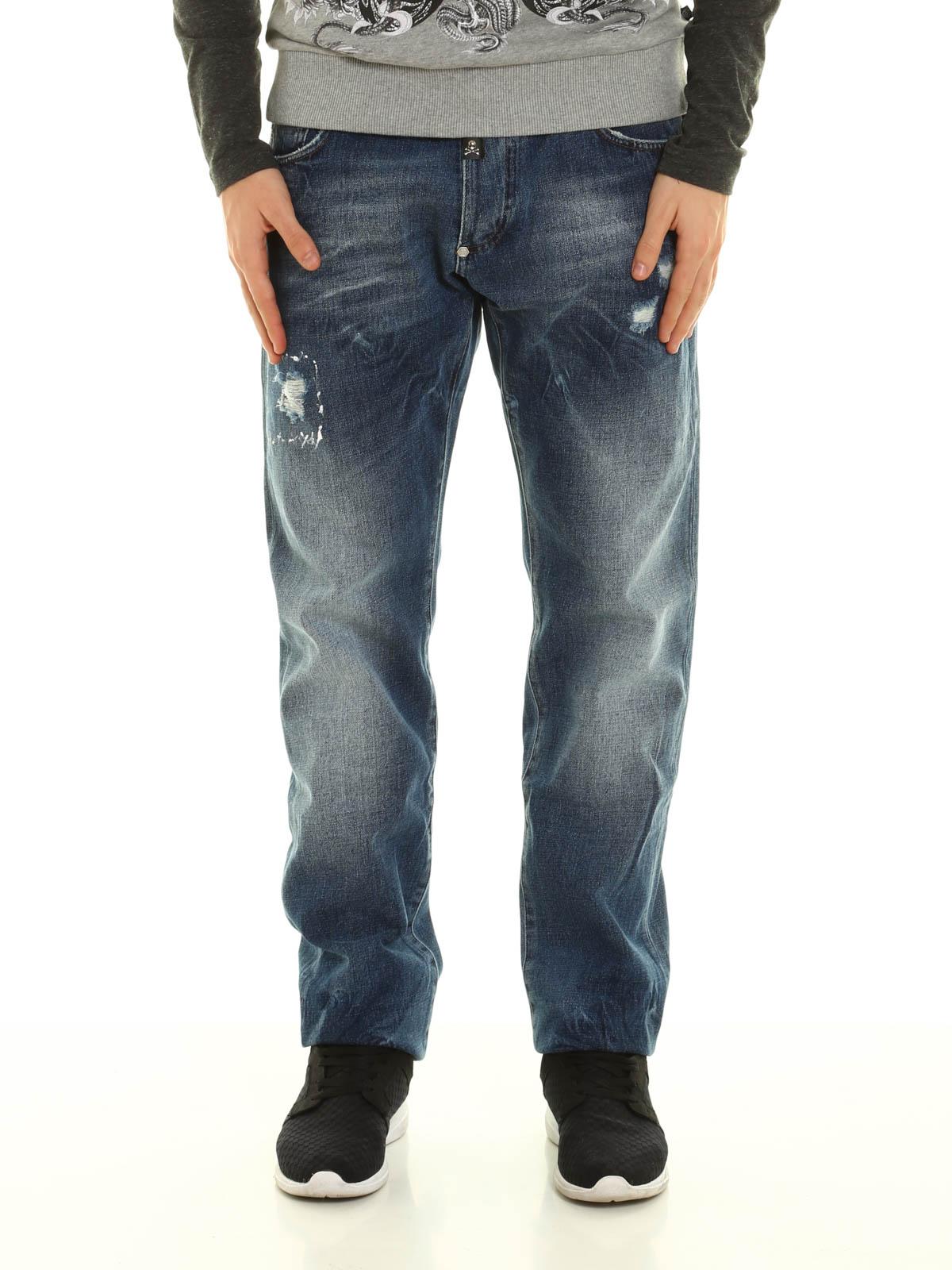 basic rider denim jeans by philipp plein straight leg jeans ikrix. Black Bedroom Furniture Sets. Home Design Ideas