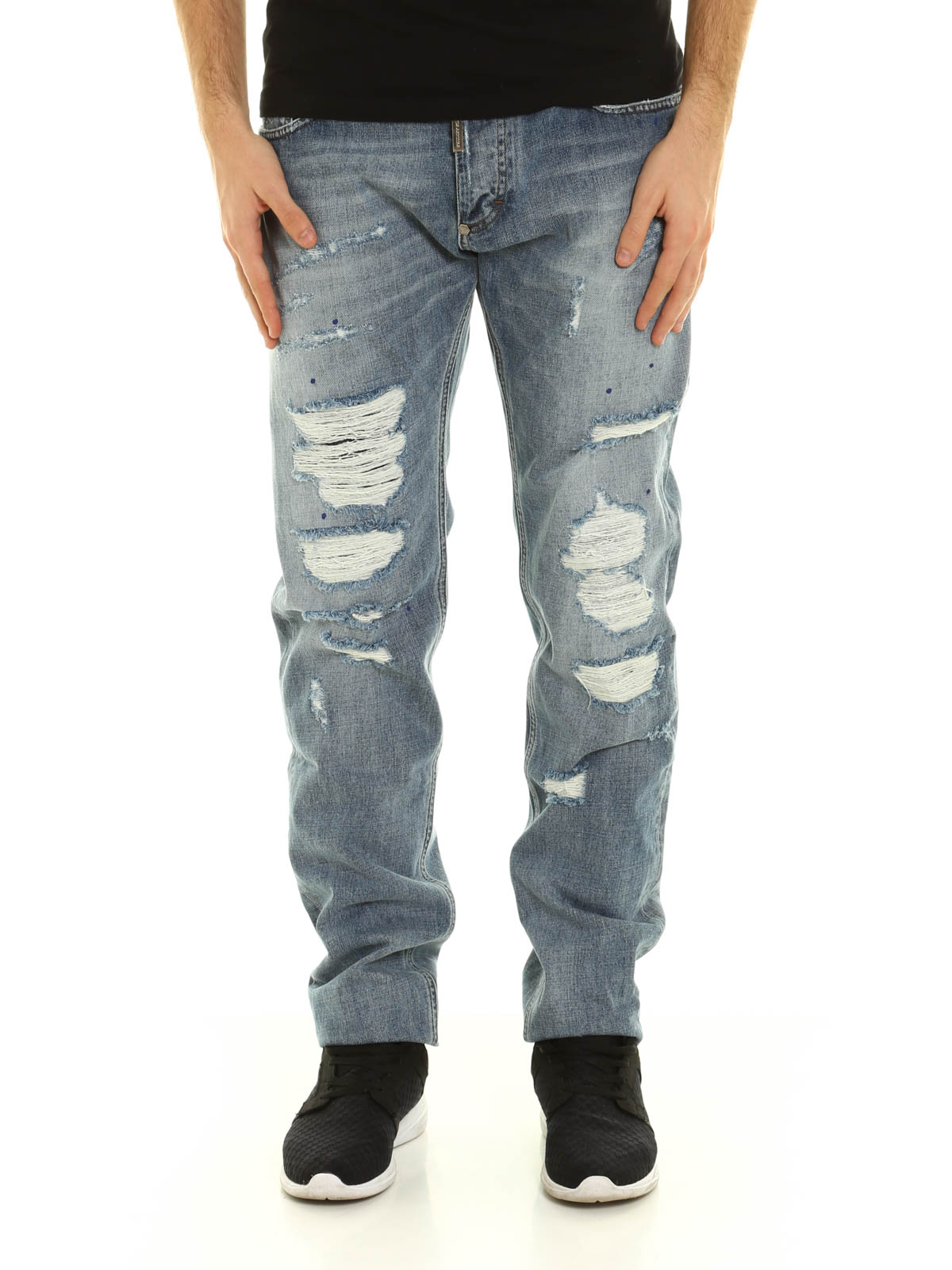 rainbow denim jeans by philipp plein straight leg jeans ikrix. Black Bedroom Furniture Sets. Home Design Ideas