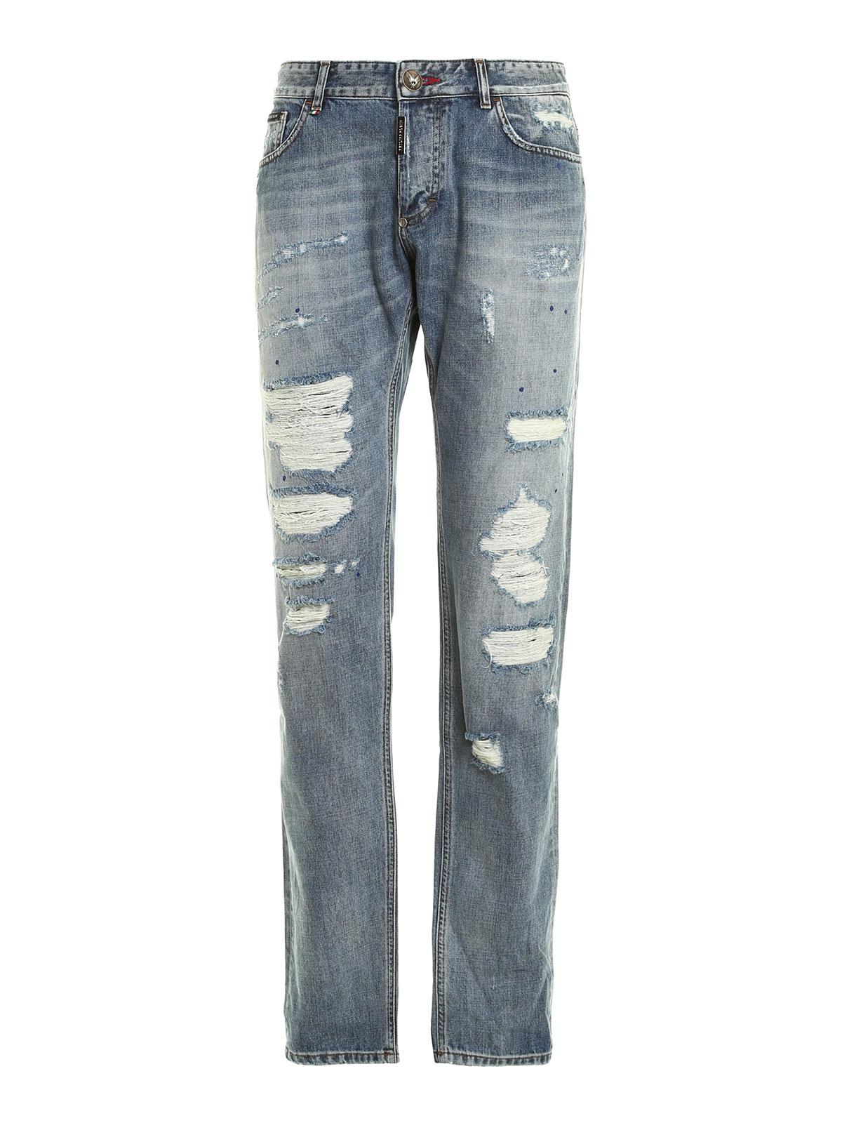 rainbow denim jeans by philipp plein straight leg jeans. Black Bedroom Furniture Sets. Home Design Ideas