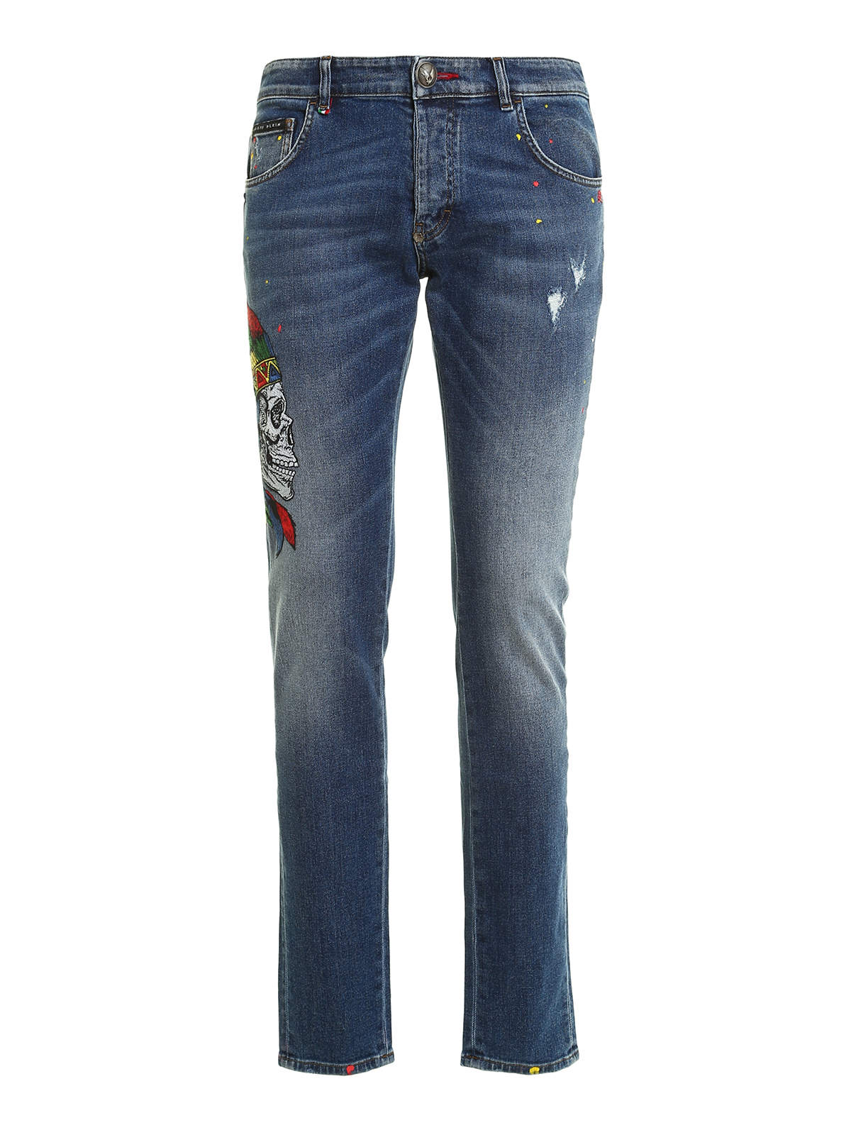 twisted embroidered jeans by philipp plein straight leg jeans ikrix. Black Bedroom Furniture Sets. Home Design Ideas