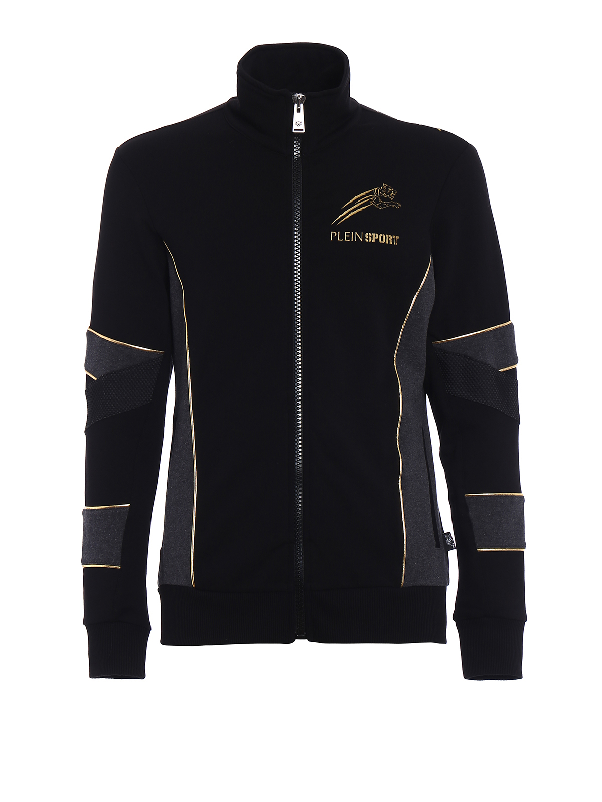 gold cotton sweat jacket by philipp plein sweatshirts sweaters ikrix. Black Bedroom Furniture Sets. Home Design Ideas