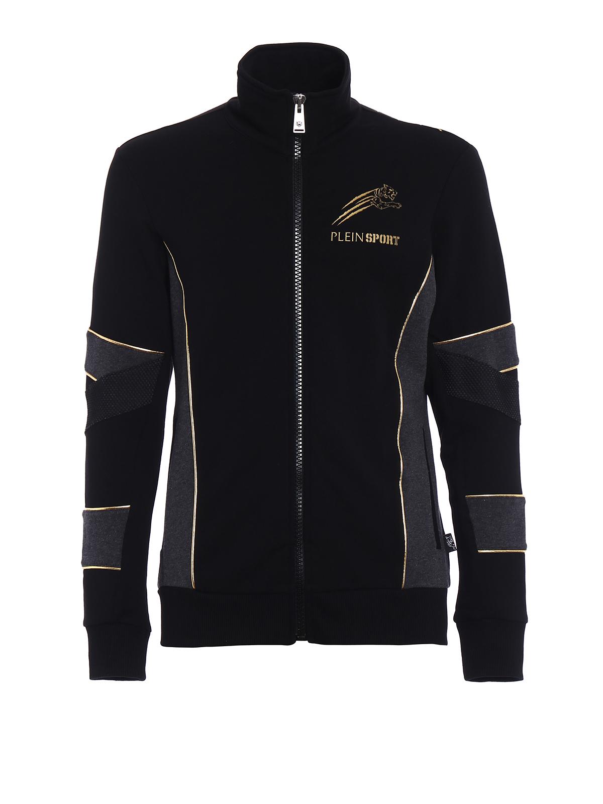 gold cotton sweat jacket by philipp plein sweatshirts sweaters ikrix. Black Bedroom Furniture Sets. Home Design Ideas