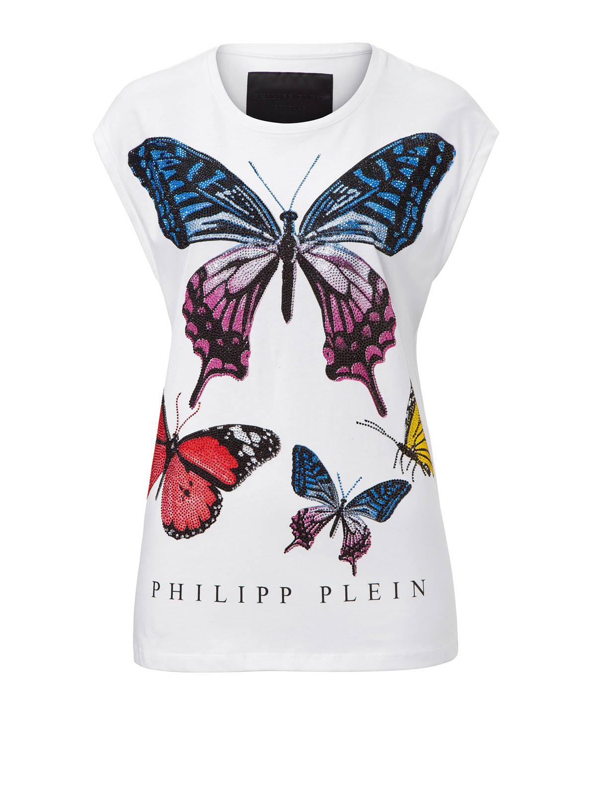 philipp plein tshirt butterfly in cotone tshirt
