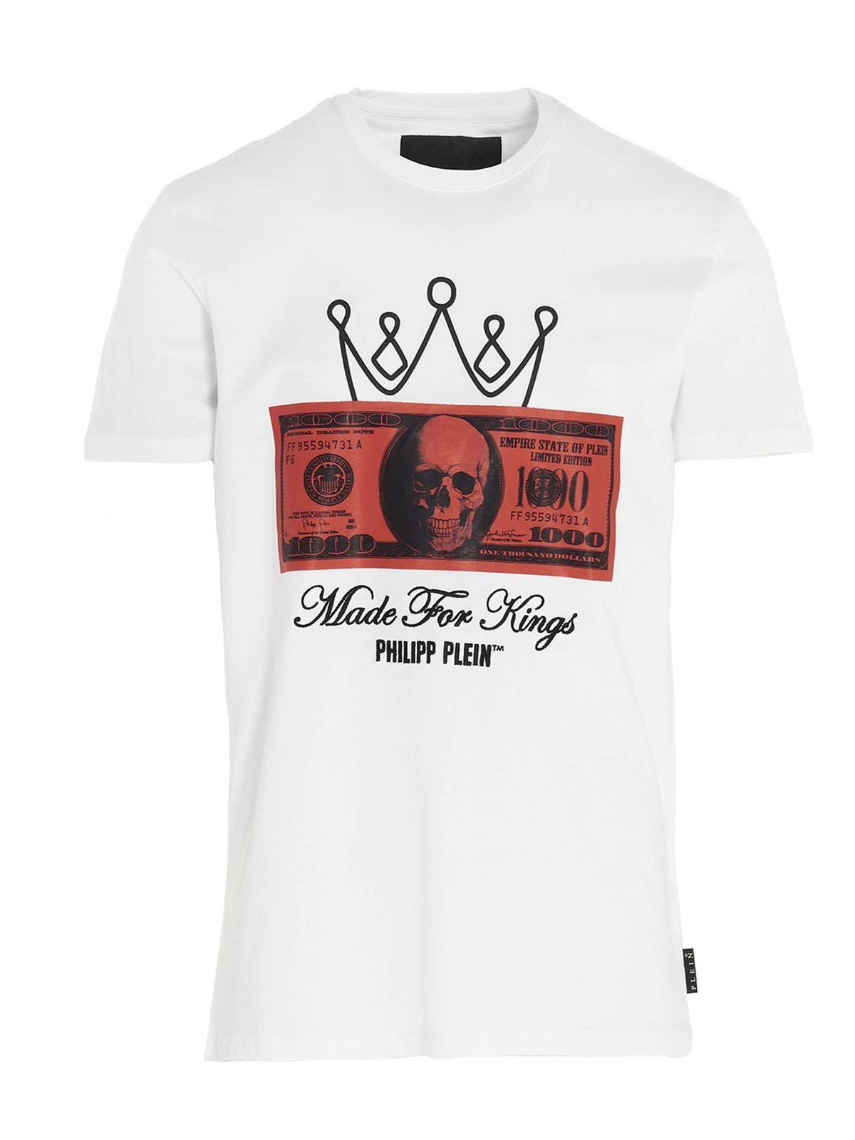 Philipp Plein DOLLAR LOGO T-SHIRT IN WHITE