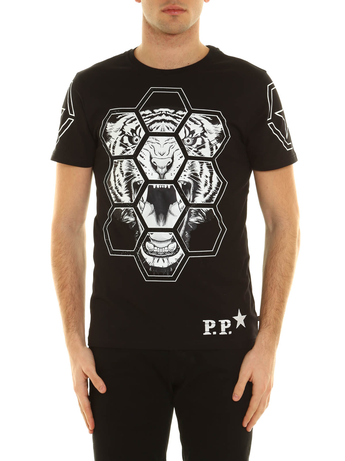 embellished hush print t shirt by philipp plein t shirts. Black Bedroom Furniture Sets. Home Design Ideas