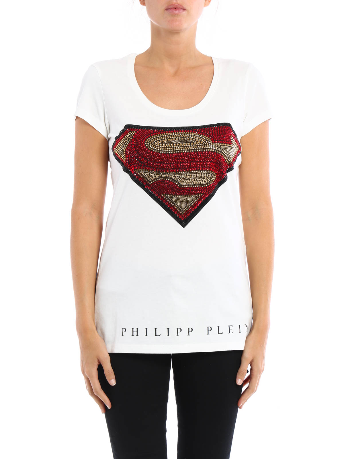 extra superman rhinestone logo tee by philipp plein t shirts ikrix. Black Bedroom Furniture Sets. Home Design Ideas