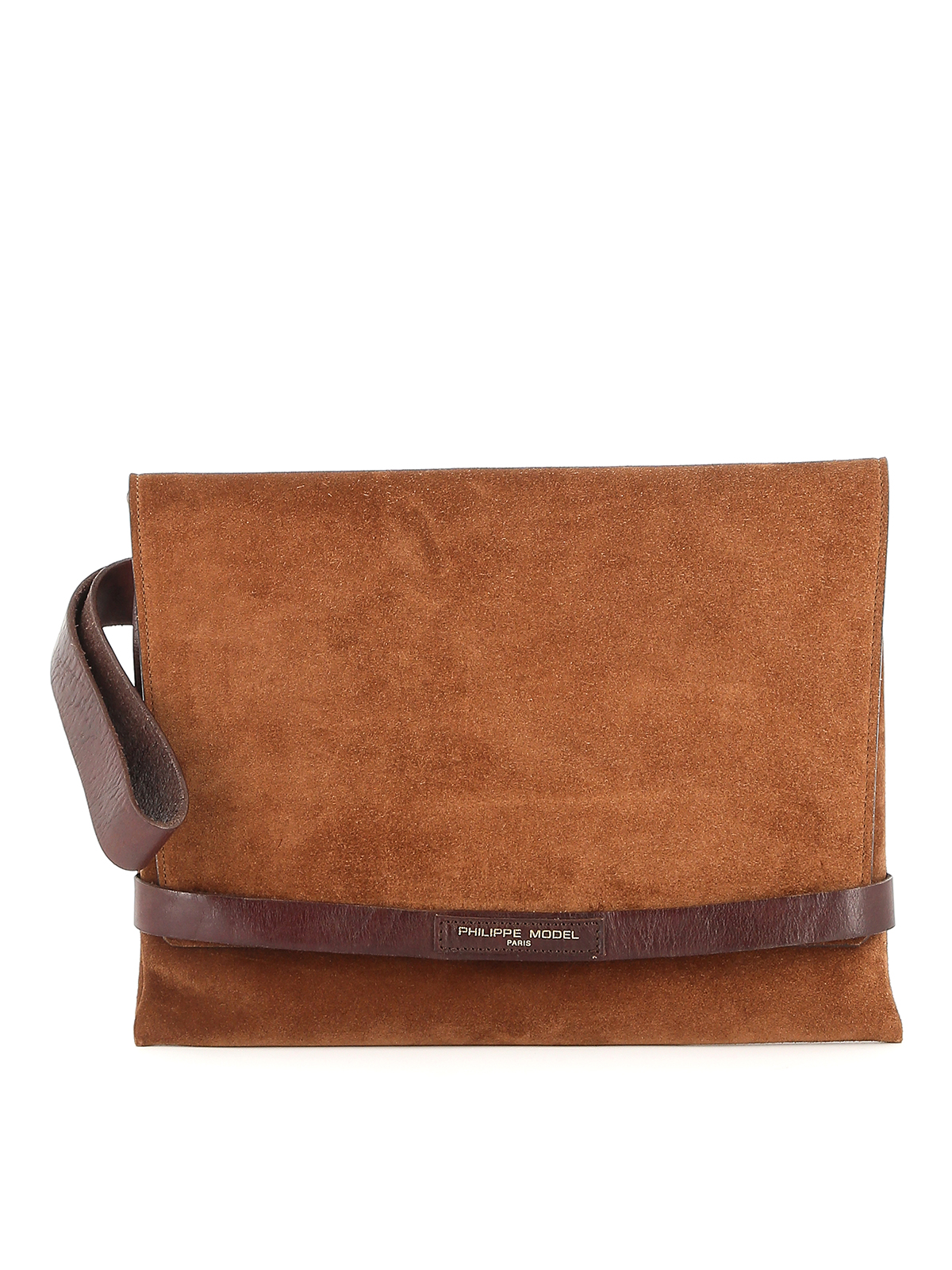 Philippe Model Simone Suede Clutch In Light Brown
