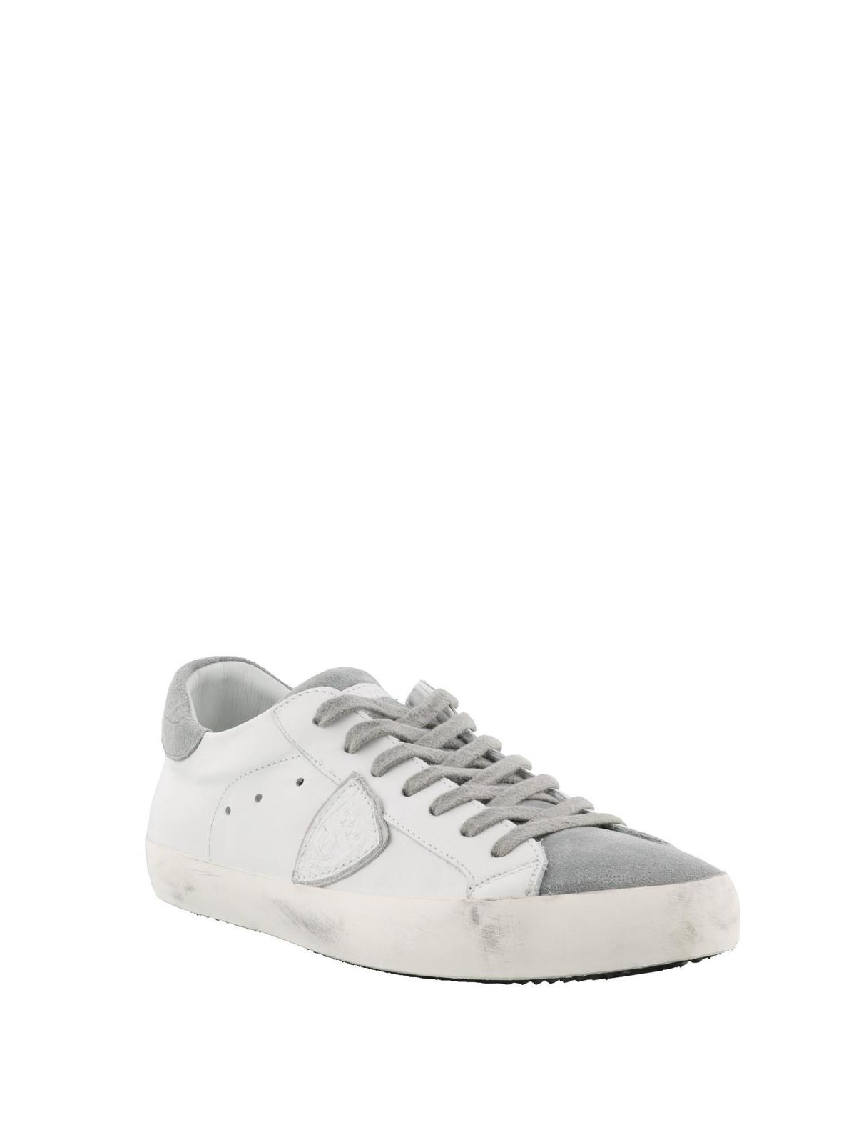 PHILIPPE MODEL  sneakers online - Sneaker Paris basse in suede bianco e  grigio 16303ae84a3