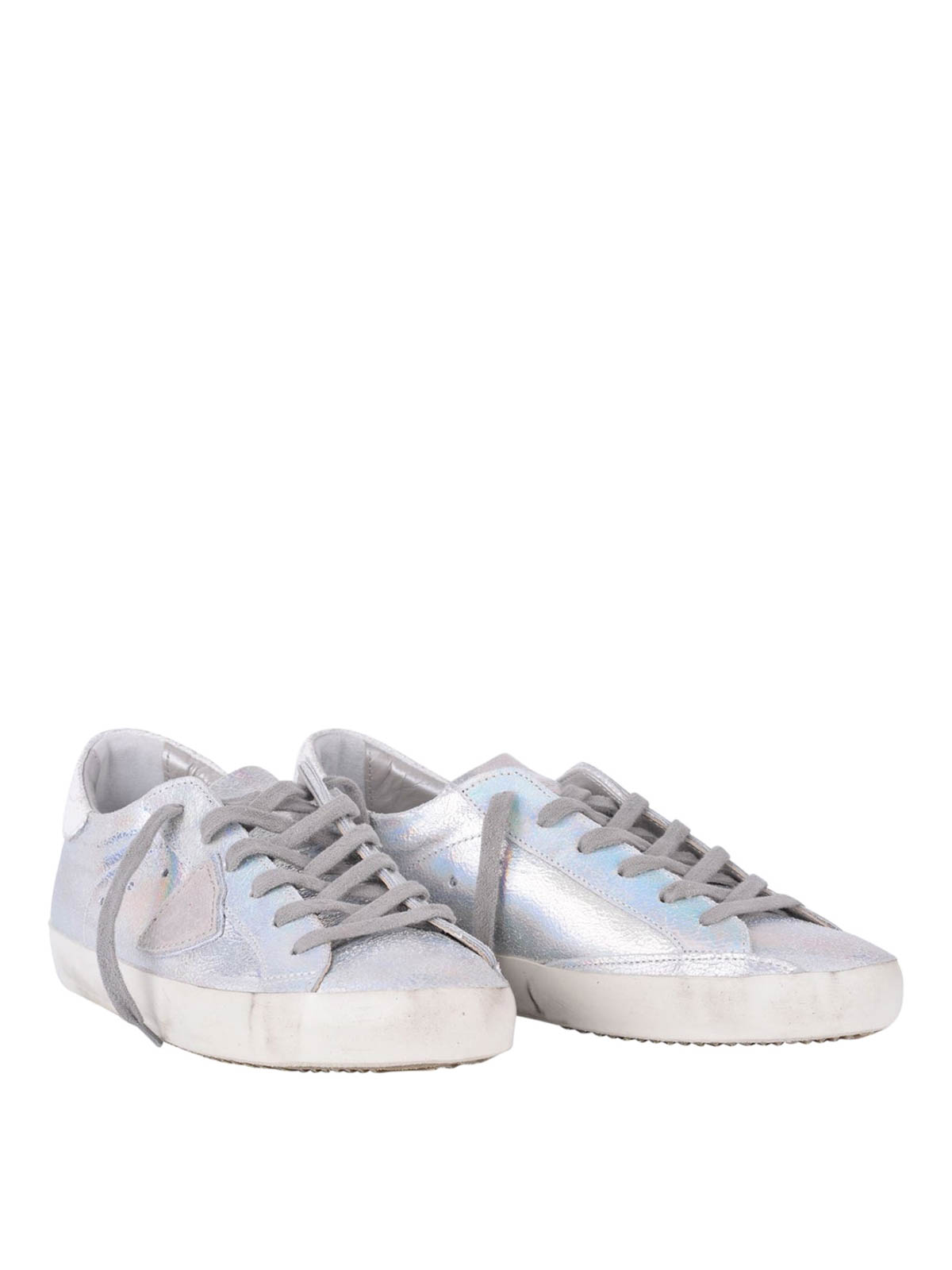 classic opalescent leather sneakers by philippe model trainers ikrix. Black Bedroom Furniture Sets. Home Design Ideas
