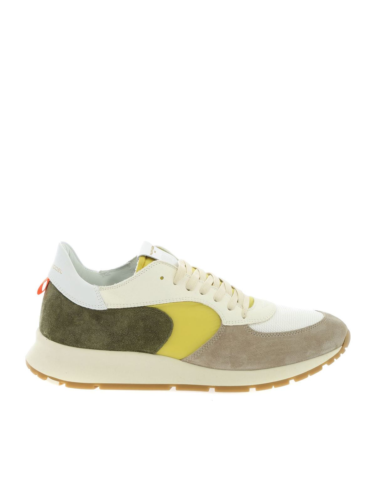 Philippe Model Sneakers MONTECARLO SNEAKERS IN GREEN YELLOW AND BEIGE