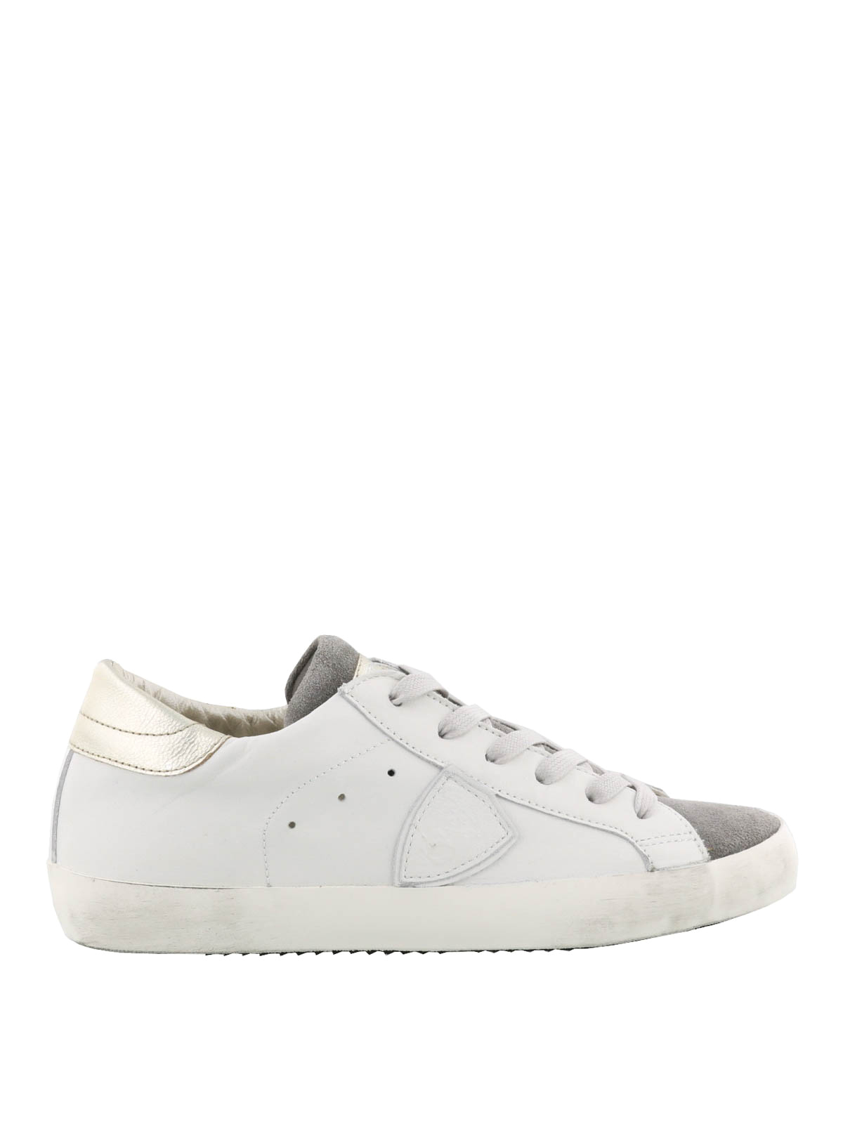 paris white and grey sneakers by philippe model trainers ikrix. Black Bedroom Furniture Sets. Home Design Ideas