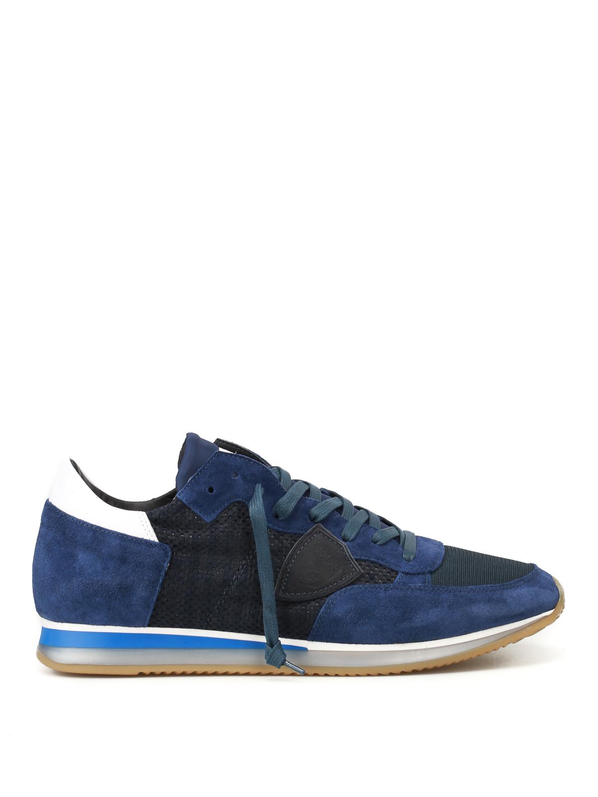 Chaussures baskets sneakers femme en daim tropez perforé Philippe Model vg63FNiwmX