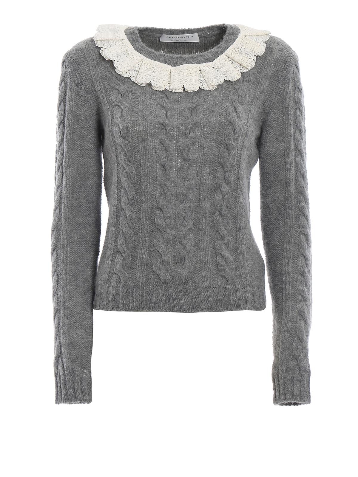 e72830138869db Philosophy di Lorenzo Serafini: crew necks - Lace embellished cable knit  crew neck sweater