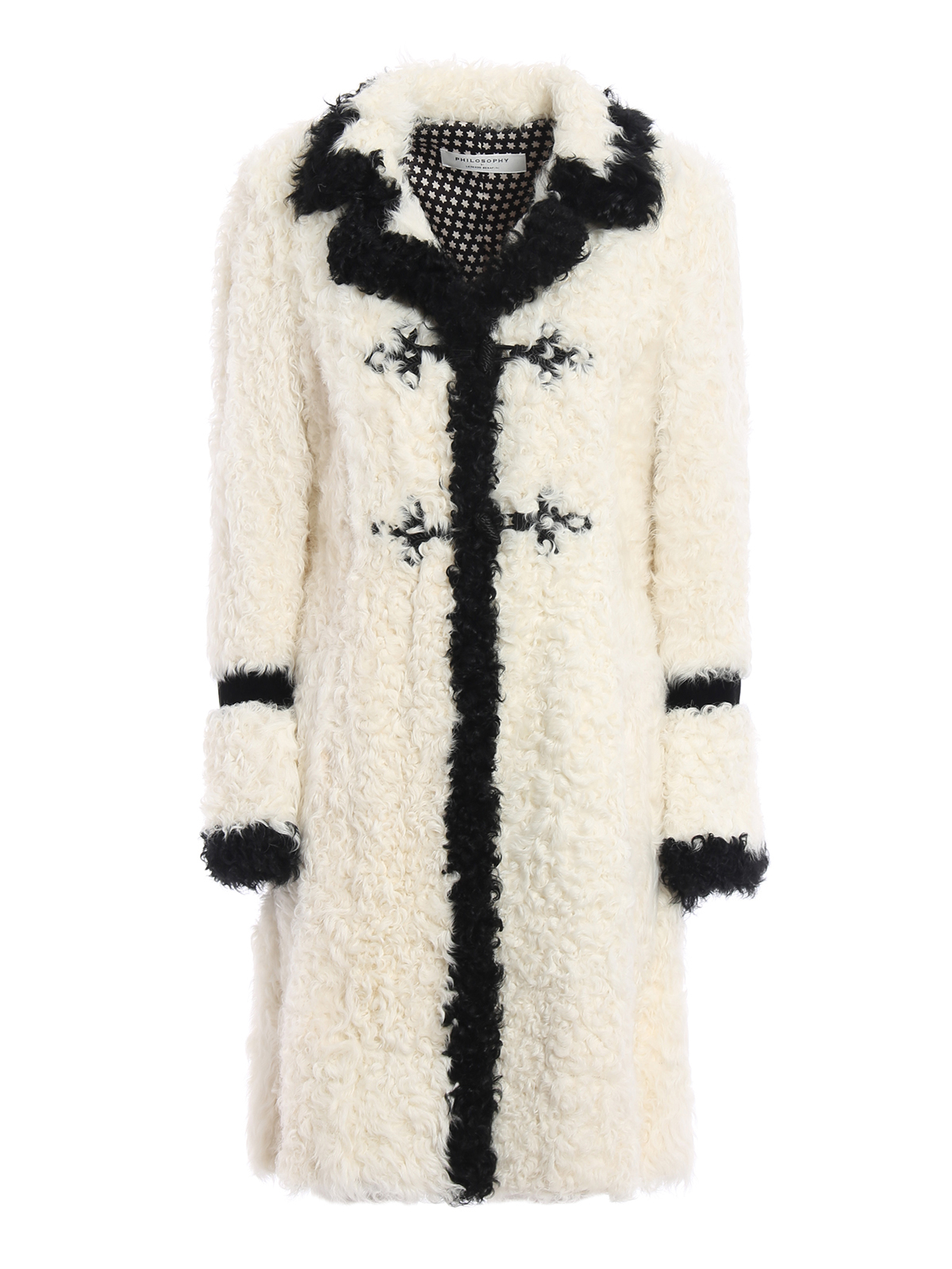 Contrasting trimmed sheep fur coat by Philosophy di Lorenzo ...